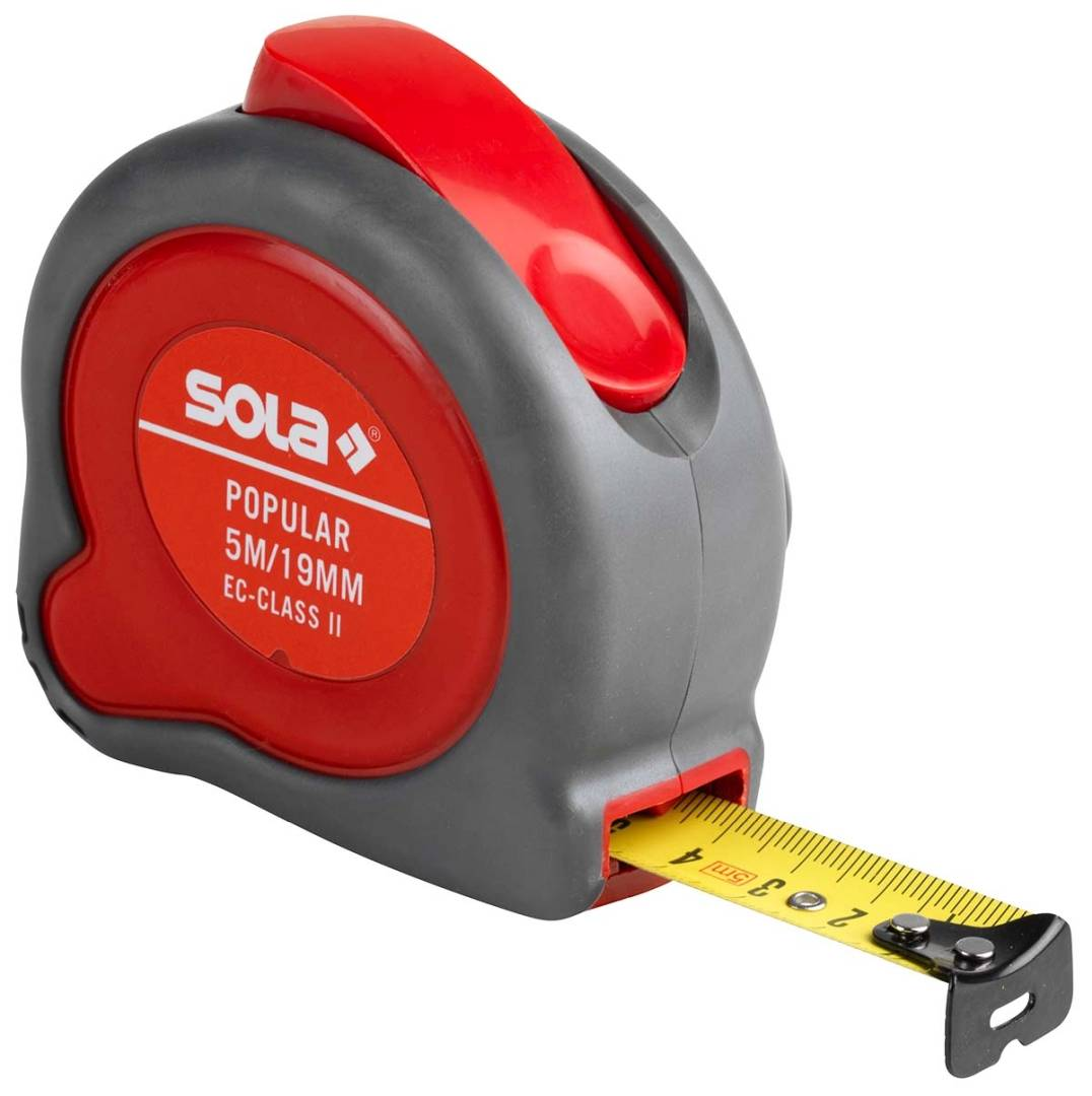 SOLA Rollbandmaß Popular PP 8, EG-Klasse 2, Länge 5 m, Bandbreite 19 mm