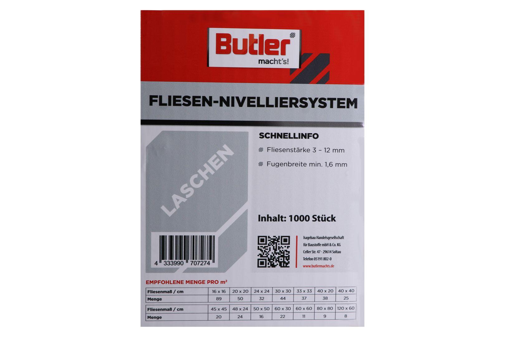Butler macht's! Fliesen-Nivelliersystem Laschen, für 1,6 mm Fugenbreite, 1.000 Stück