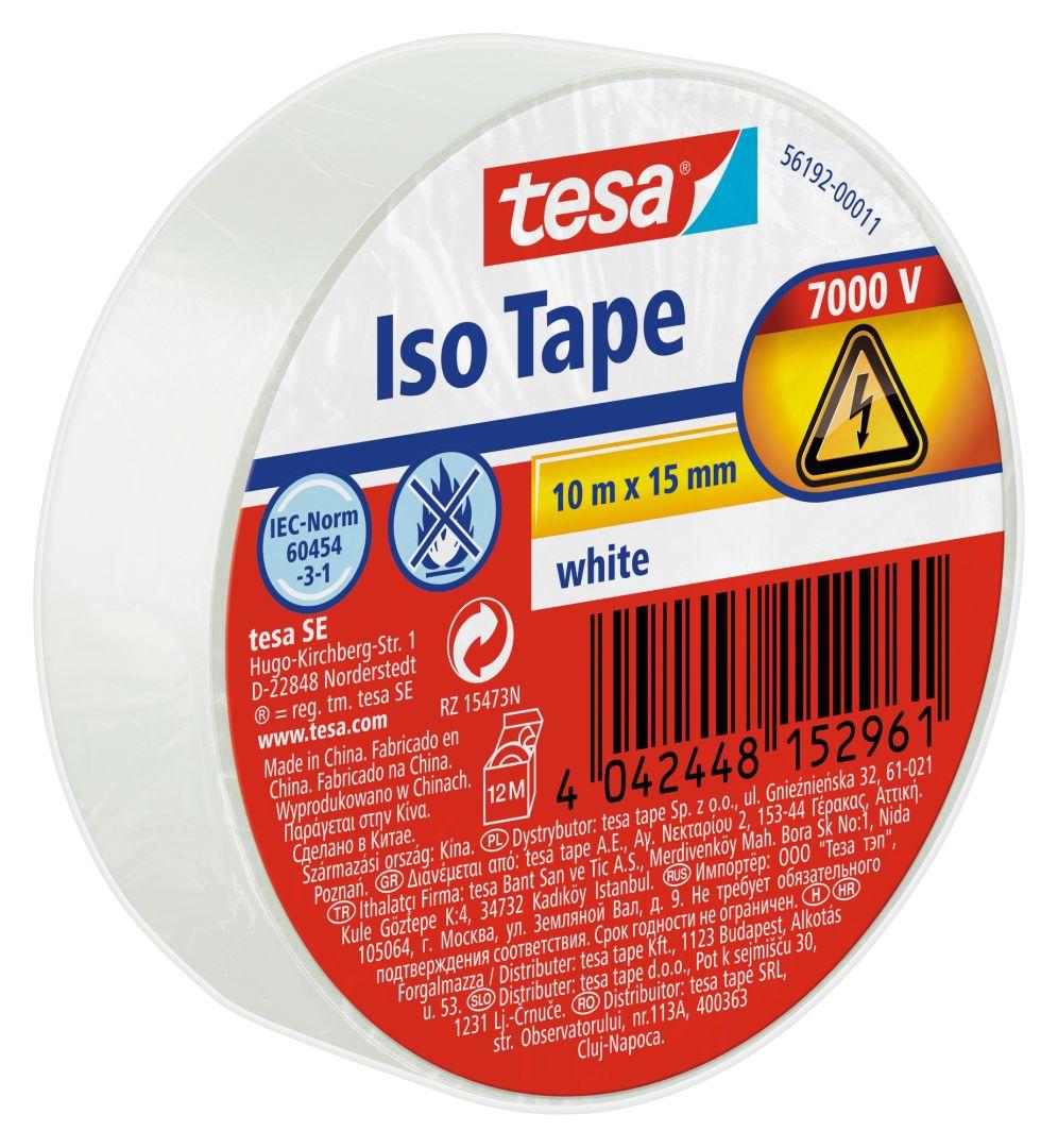 tesa Isolierband, Iso Tape, Abdichtband, Dichtungsband, Kabelklebeband, weiß, 10 m x 15 mm