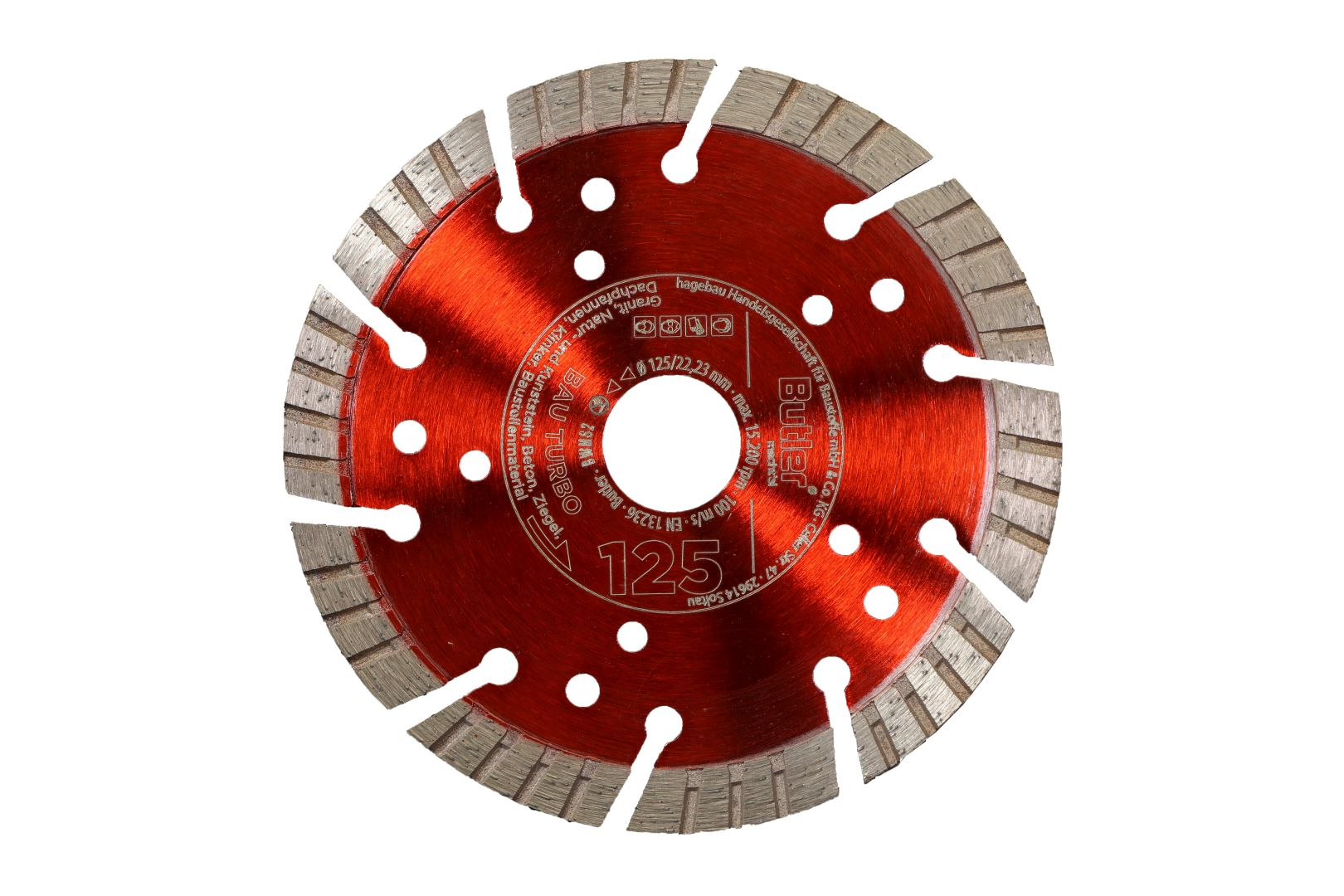 Butler macht's! Diamant-Trennscheibe Bau Turbo, Bohrung: 22,23 mm, Ø 125 mm