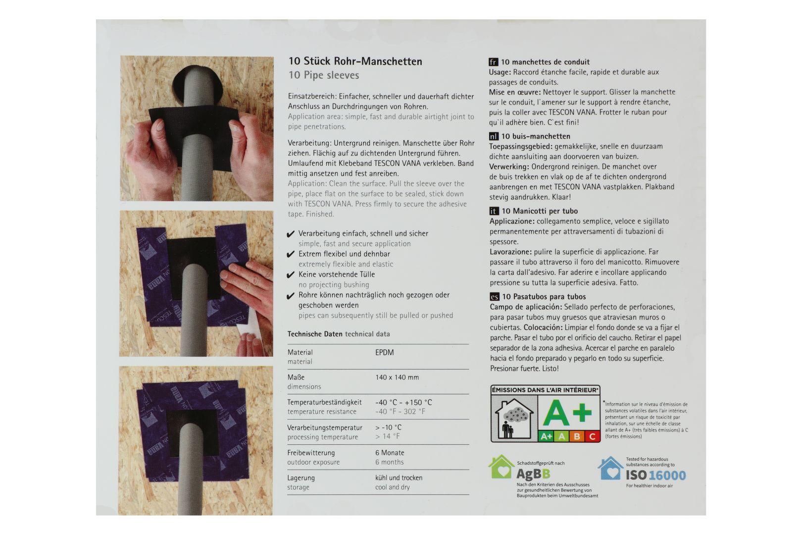 pro clima ROFLEX 50 Rohr-Manschette, 145 x 145 mm, für Rohre mit Ø 50 - 90 mm, 1 Manschette