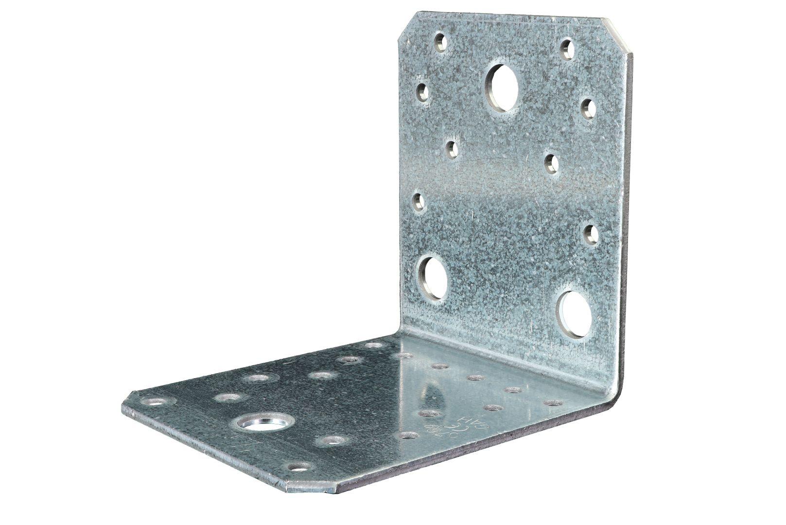 GAH Winkelverbinder, Lochplattenwinkel, sendzimirverzinkt, 105 x 105 x 90 mm, Stärke: 3 mm