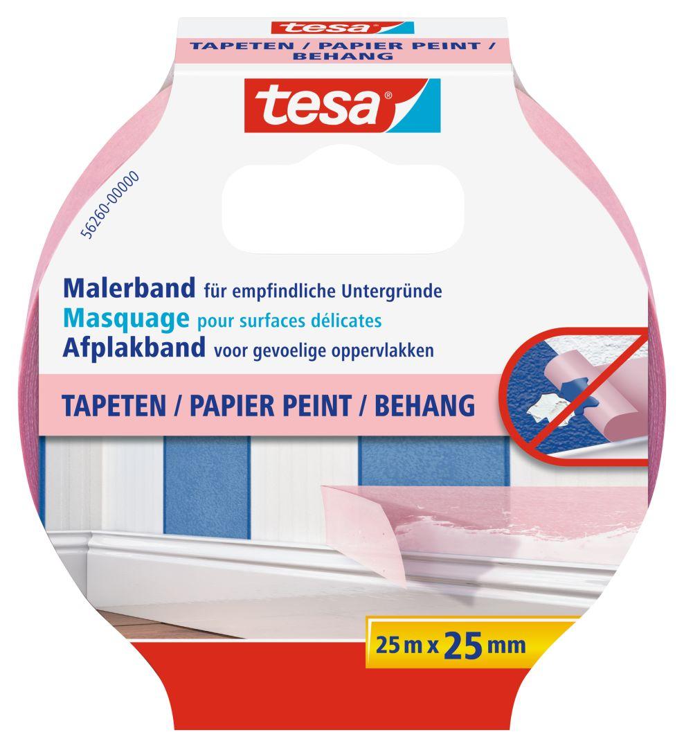 tesa Malerband, Fixier- und Abdeckband, Kreppband, Papierabdeckband für Tapeten, 25 m x 25 mm