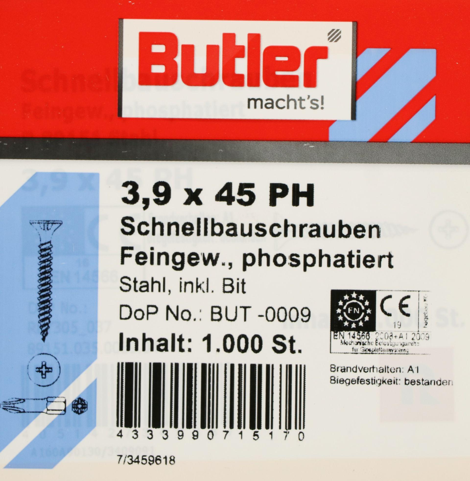 Butler macht's! Schnellbauschraube mit Bit Stahl, Feingewinde, phosphatiert, 3,9 x 45 mm, 1.000 Stück