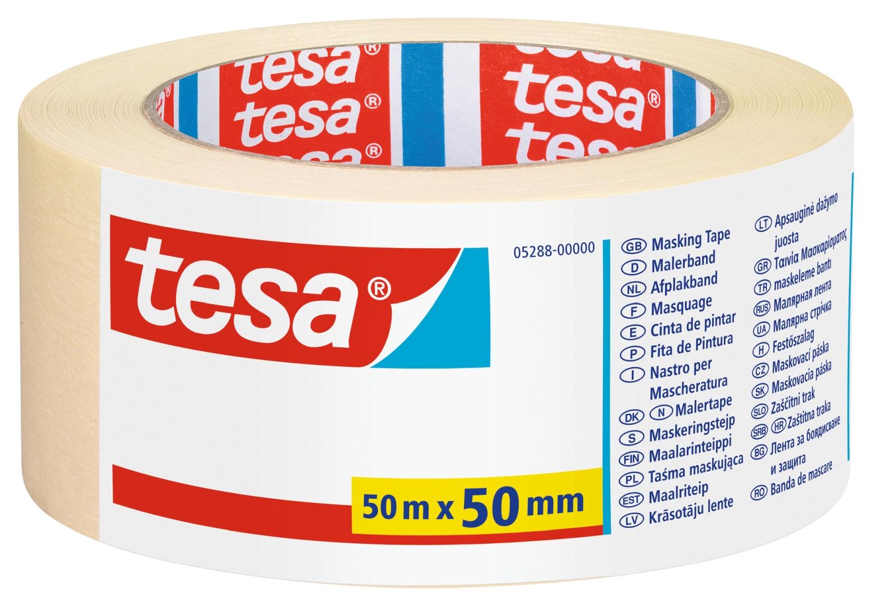 tesa UNIVERSAL, Malerband, Fixier- und Abdeckband, Kreppband, Papierabdeckband, 50 m x 50 mm