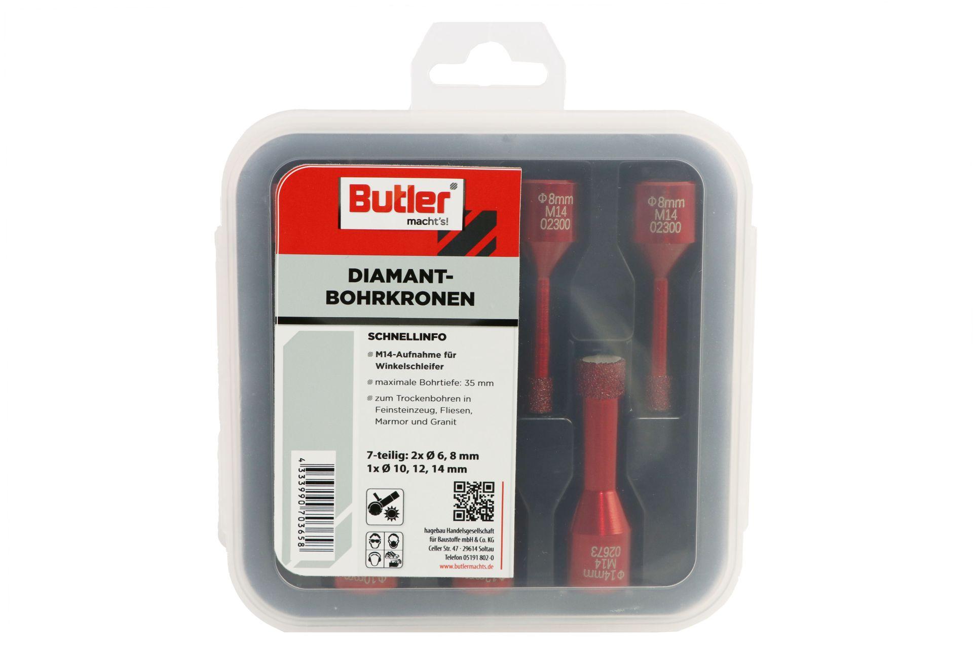 Butler macht's! Diamant-Bohrkronen 7-er Set, je 2 x Ø 6 und 8 mm, je 1 x Ø 10, 12 und 14 mm, Aufnahme M14