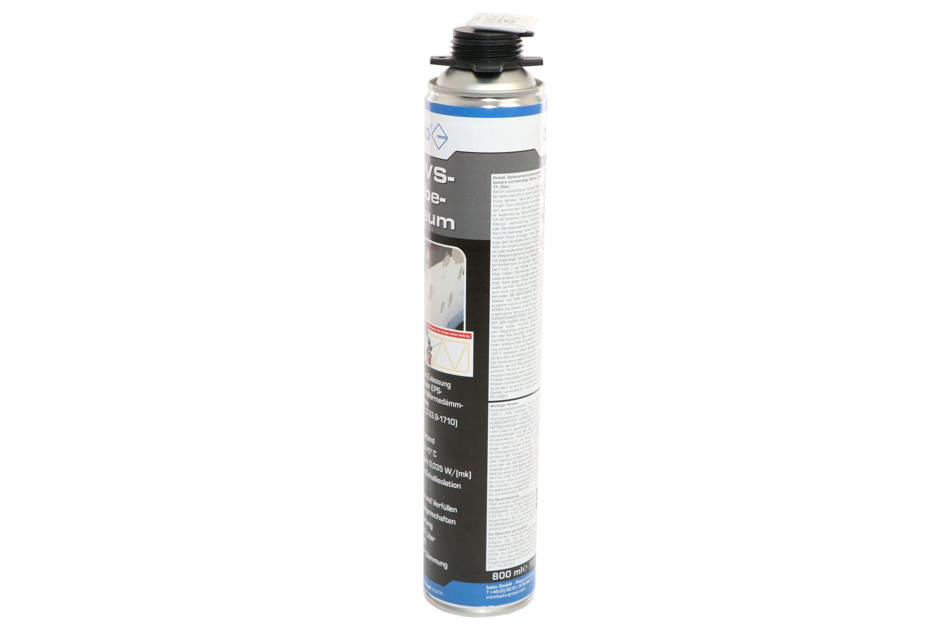 beko 1-Komponenten Polyurethan-WDVS-Klebeschaum, B1-Qualität, Ausbeute ca. 47 l, 800 ml Dose