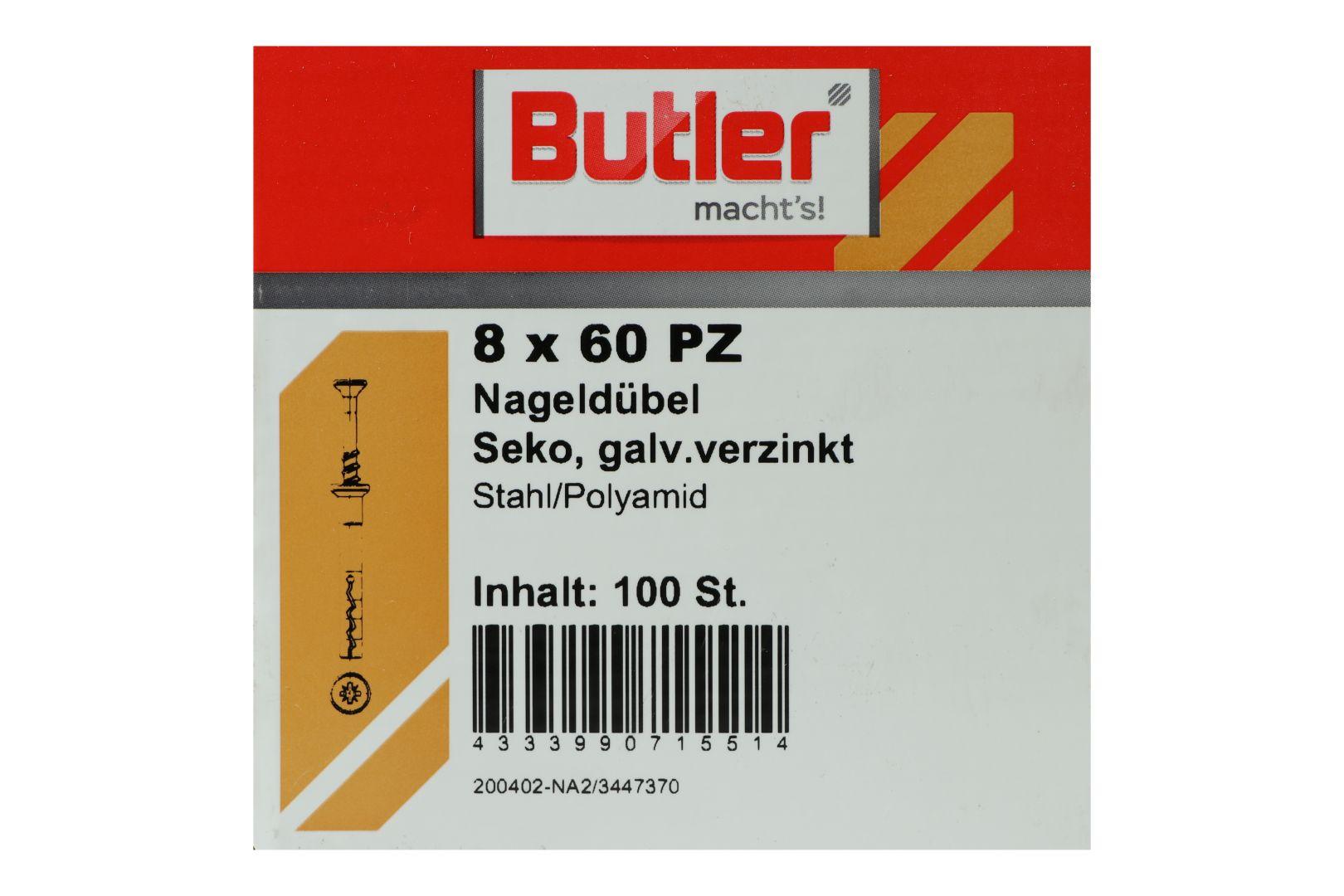 Butler macht's! Nageldübel, Stahl / Polyamid, Senkkopf, galvanisch verzinkt 8 x 60 mm, 100 Stück