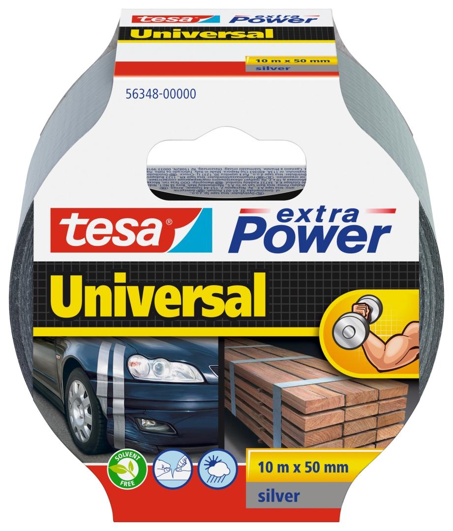 tesa extra Power Universal, Reparaturband, wasserfest, grau, 10 m x 50 mm