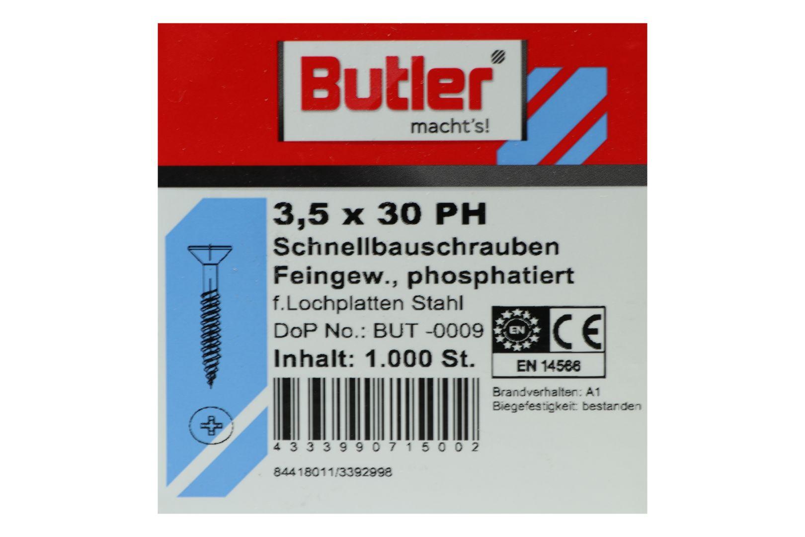 Butler macht's! Schnellbauschraube, Stahl, Feingewinde, phosphatiert, 3,5 x 30 mm, 1.000 Stück