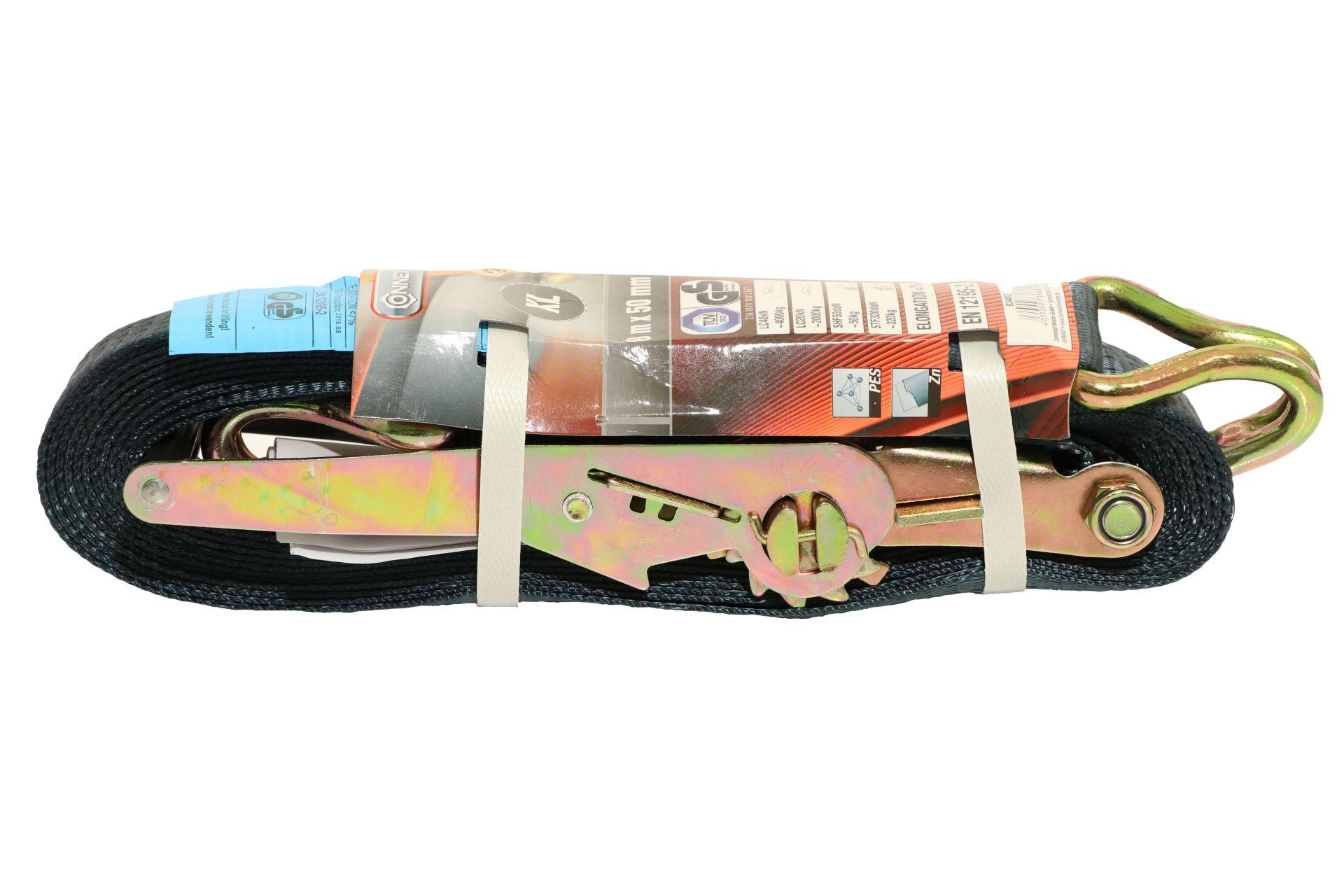 CONNEX Zurrgurt mit Ratsche und Haken, 8 m x 50 mm, bis 4000 kg