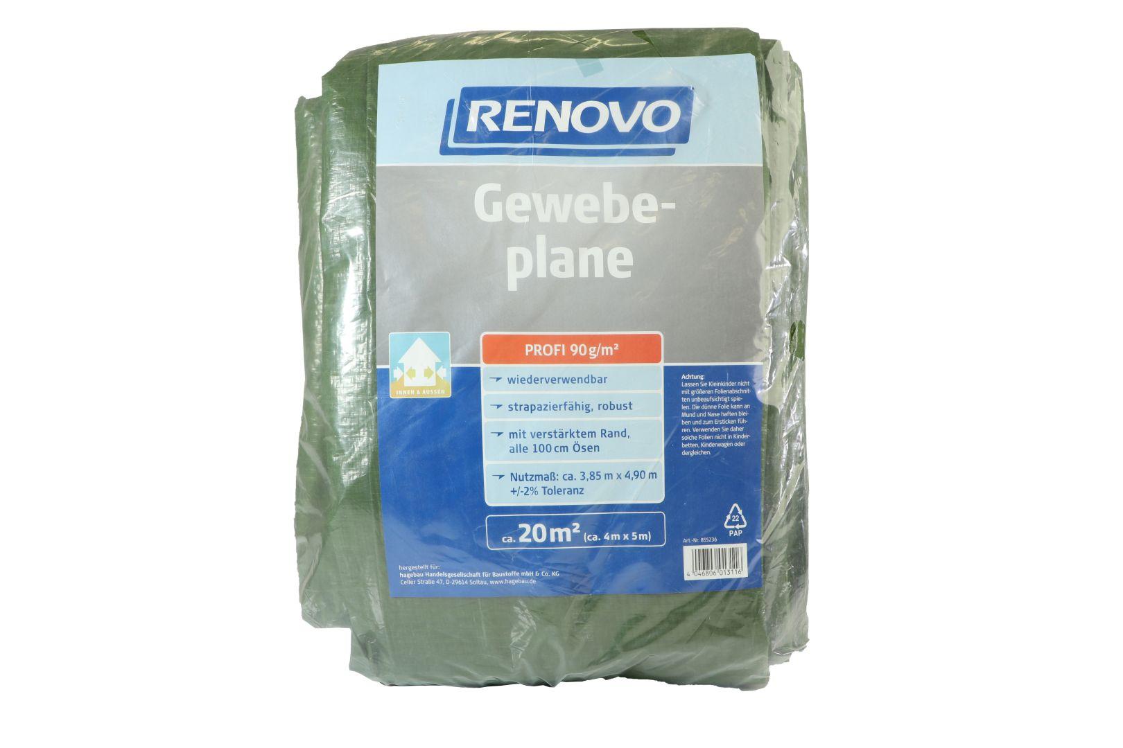 RENOVO Gewebeplane Profi, grün, mit Ösen, 5 x 4 m