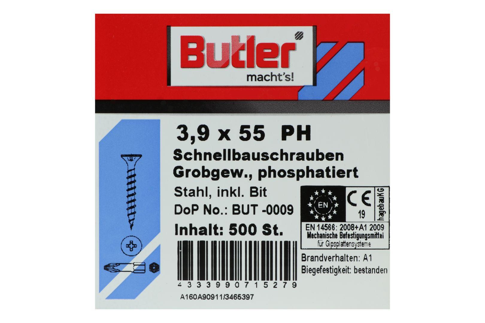 Butler macht's! Schnellbauschrauben inkl. Bit für Holz auf Holz, Grobgewinde, PH2, 3,9 x 55 mm, 500 Stück