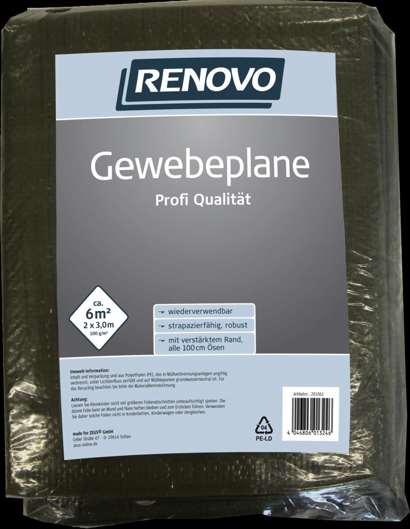 RENOVO Gewebeplane Profi, grün, mit Ösen, 3 x 2 m