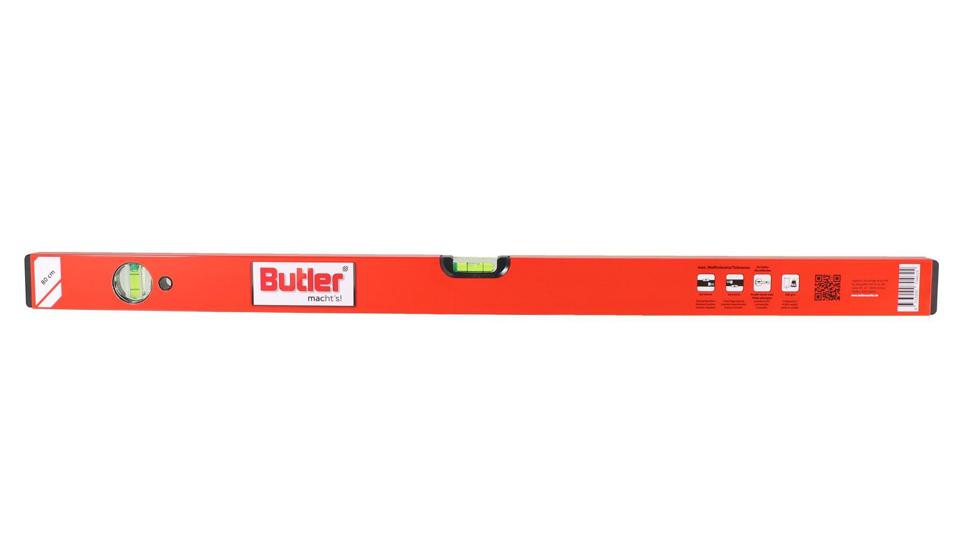 Butler macht's! Wasserwaage aus Leichtmetall, eine horizontale, eine vertikale Libelle, Länge 80 cm