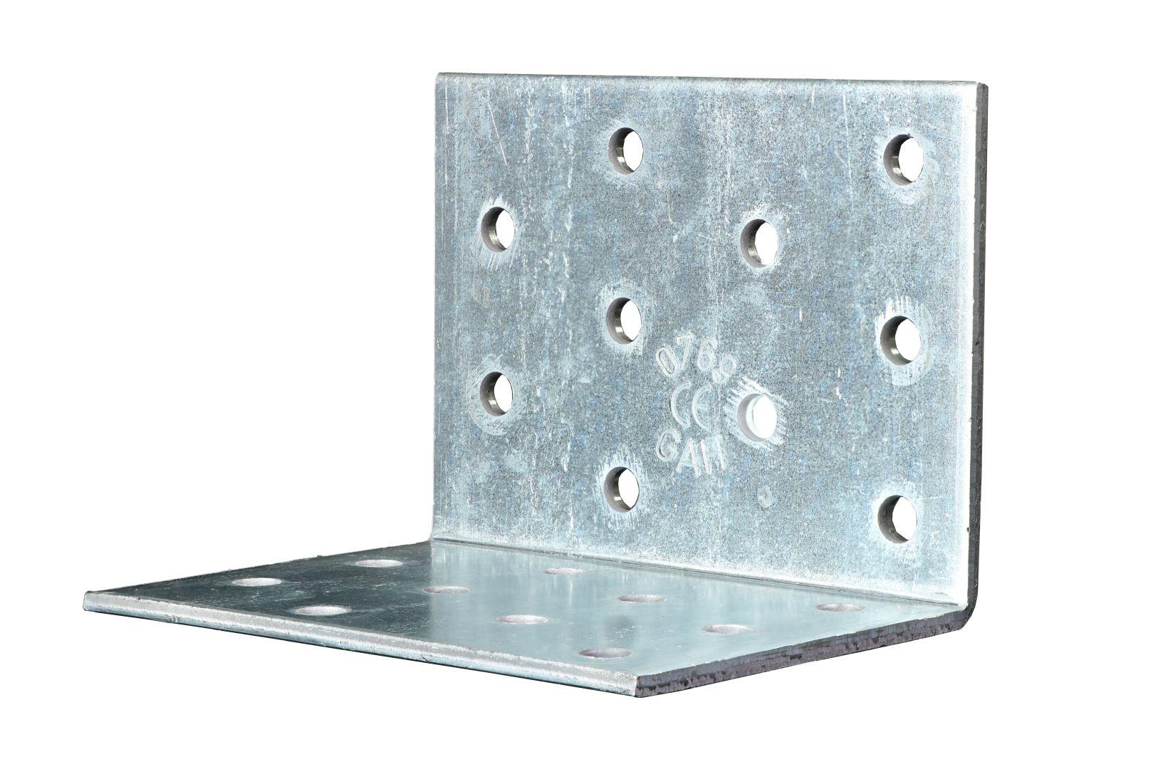 GAH Lochplattenwinkel, Winkelverbinder, sendzimirverzinkt, 60 x 60 x 80 mm, Stärke: 2,5 mm