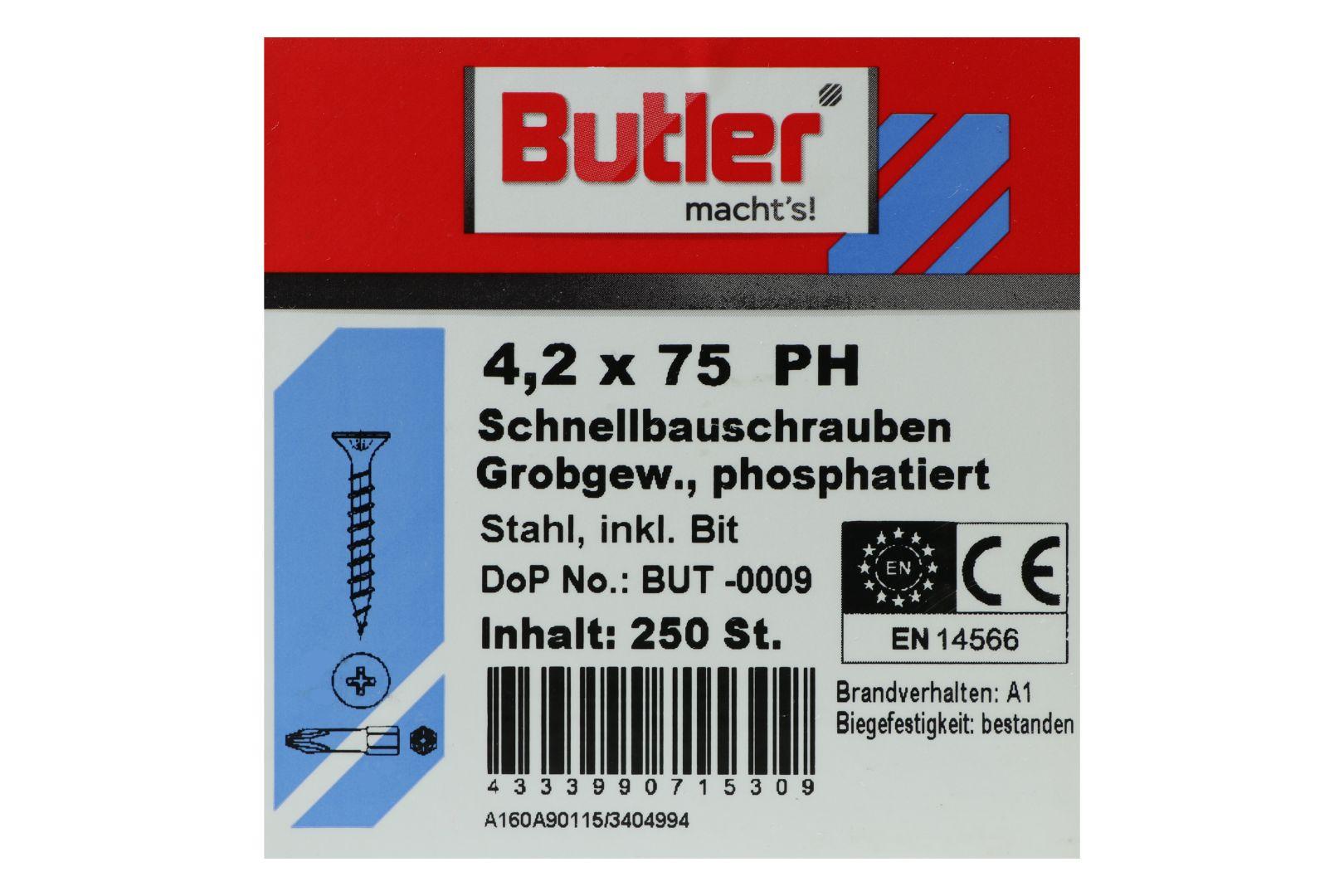 Butler macht's! Schnellbauschrauben inkl. Bit für Holz auf Holz, Grobgewinde, PH2, 4,2 x 75 mm, 250 Stück