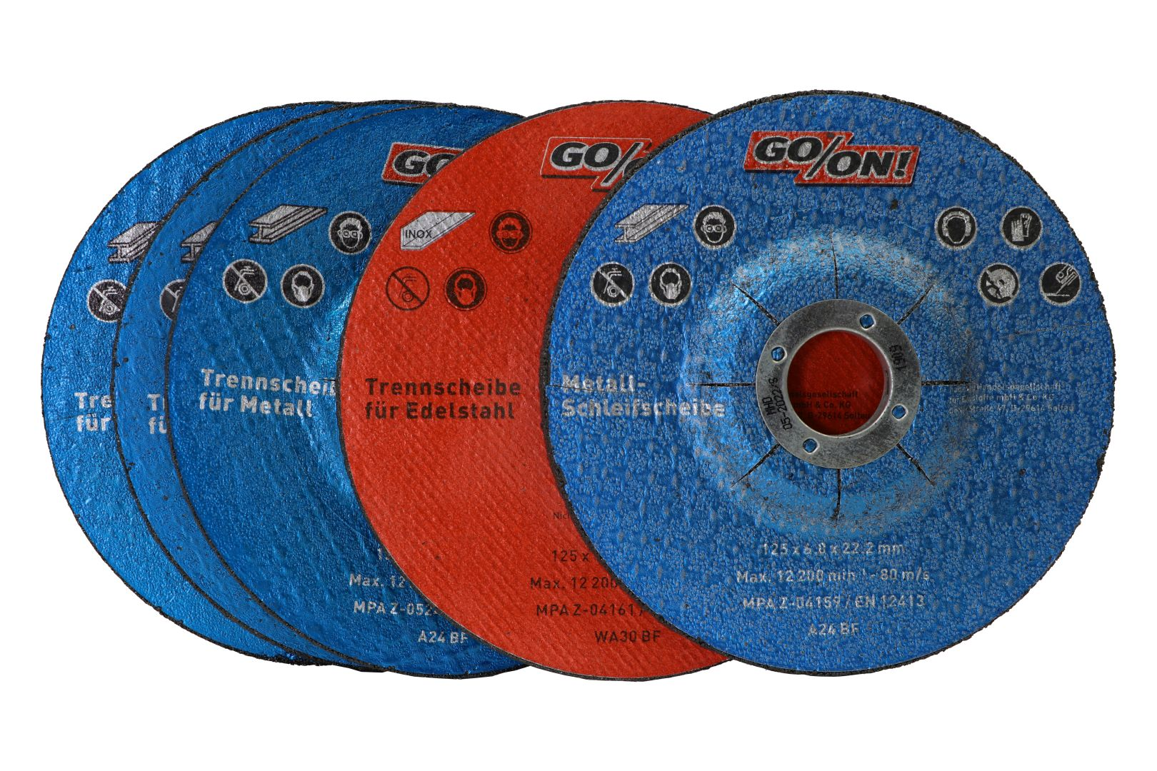 GO/ON Trenn- und Schleifscheiben-Set, für Metalle und Edelstahl, Ø 125 mm, 5-teilig