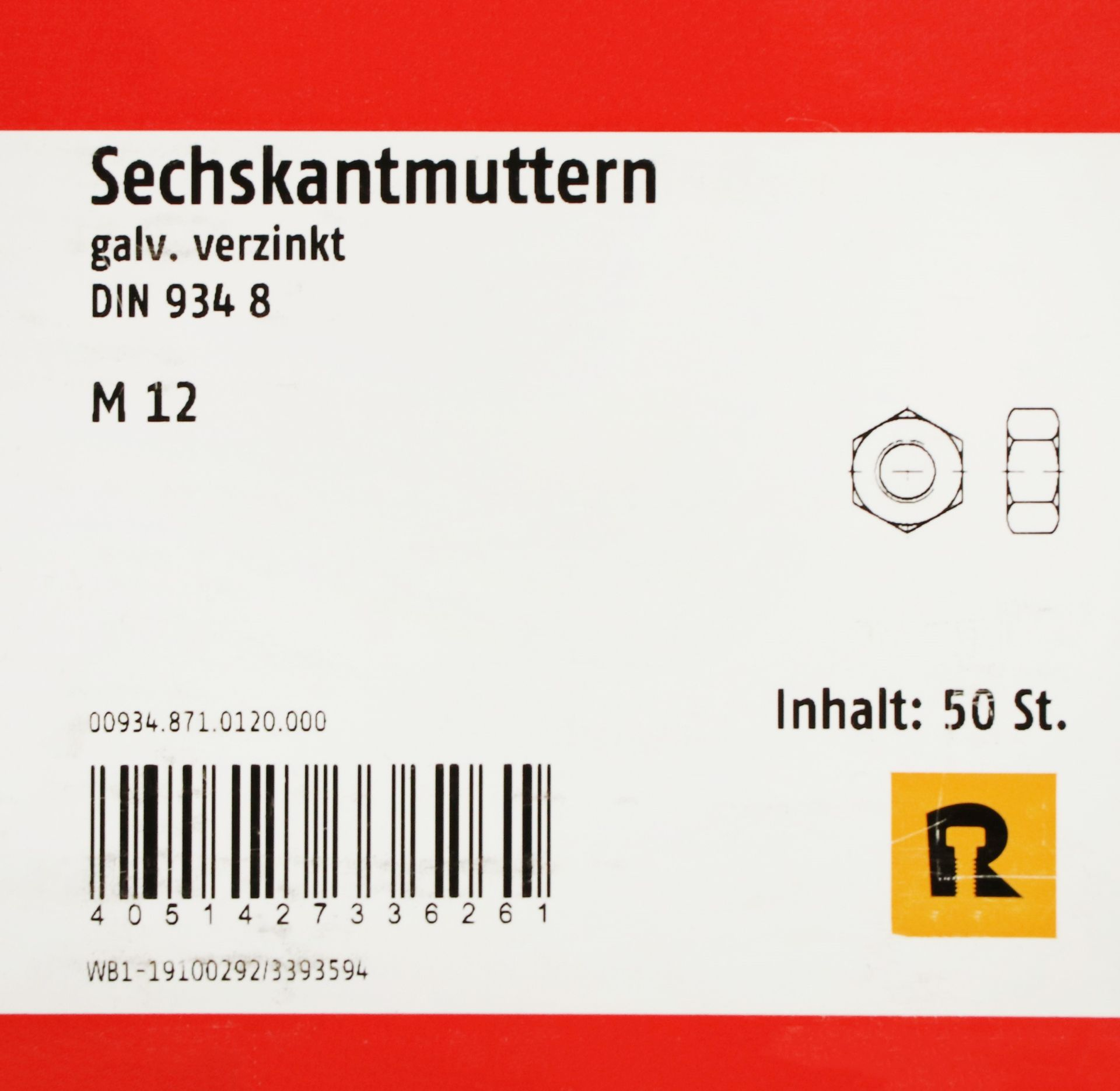 REYHER Sechskantmuttern galvanisch verzinkt, DIN 934 8, M12, 50 Stück