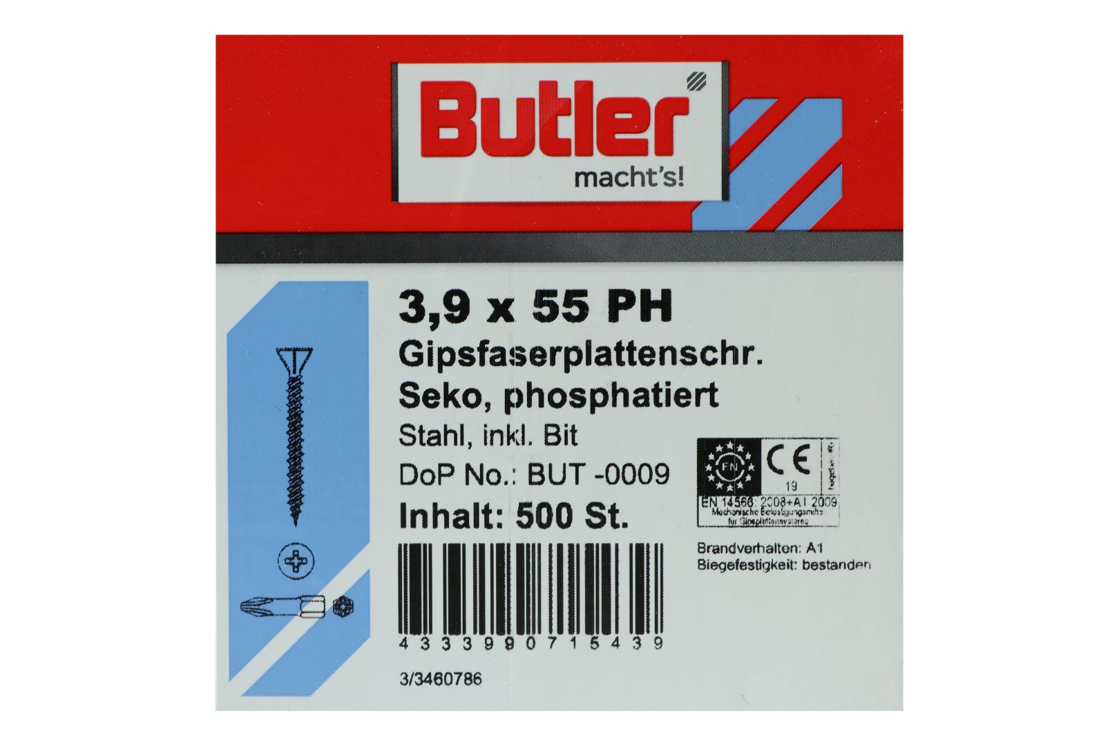 Butler macht's! Schnellbauschrauben inkl. Bit für Faserplatten auf Holz und Metall bis 0,6 mm, HiLo-Gewinde, PH2, 3,9 x 55 mm, 500 Stück