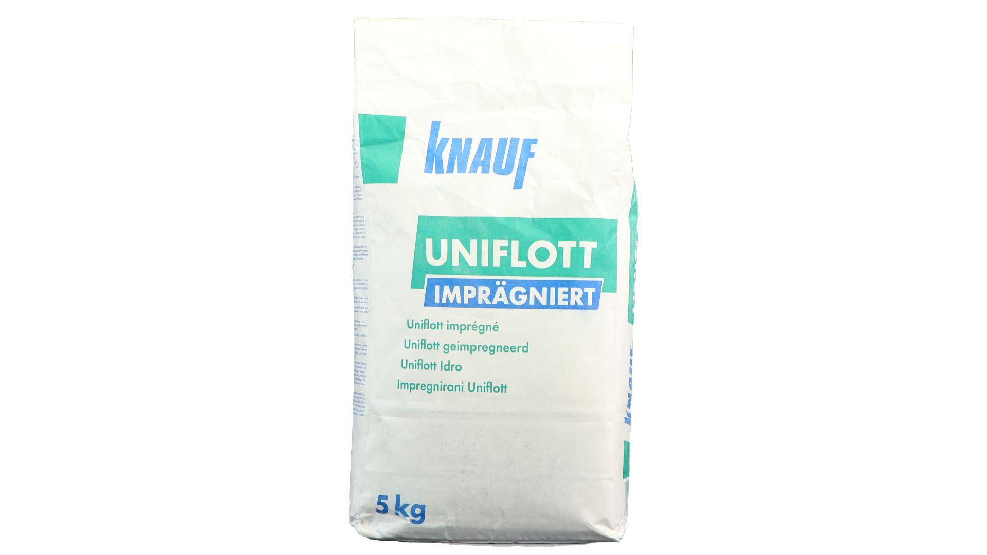 Knauf Uniflott imprägniert, Spachtelmasse zur Grundverspachtelung von Gipsplattenfugen, Wand und Decke, Feuchtraum, 5 kg