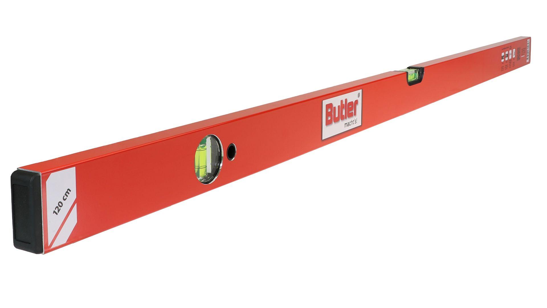 Butler macht's! Wasserwaage aus Leichtmetall, eine horizontale, eine vertikale Libelle, Länge 120 cm
