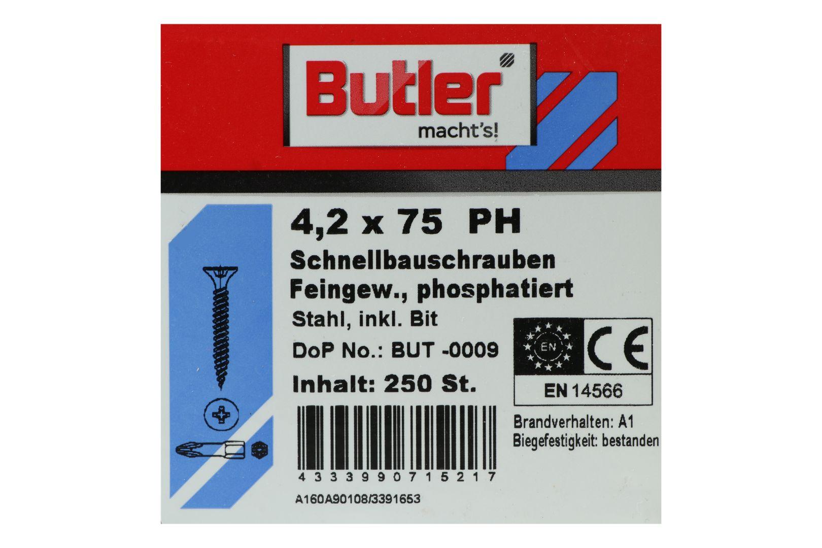 Butler macht's! Schnellbauschrauben inkl. Bit für Gipsplatten auf Metall bis 0,6 mm, Feingewinde, PH2, 4,2 x 75 mm, 250 Stück