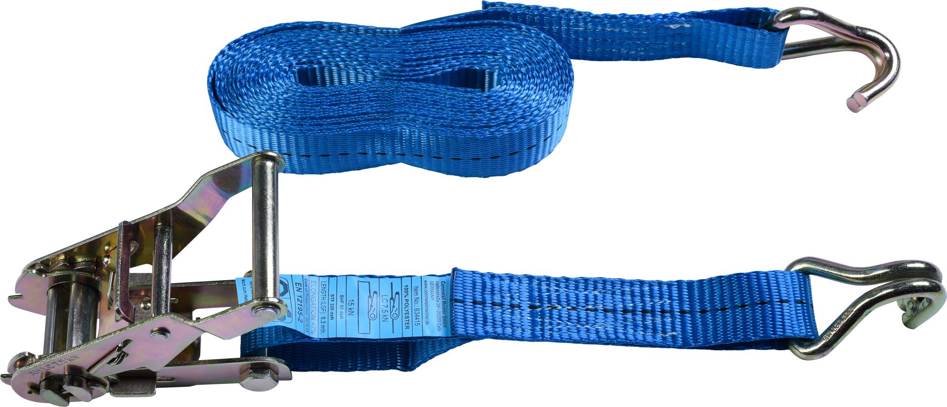 CONNEX Zurrgurt mit Ratsche und Haken, 5 m x 25 mm, bis 1.500 kg