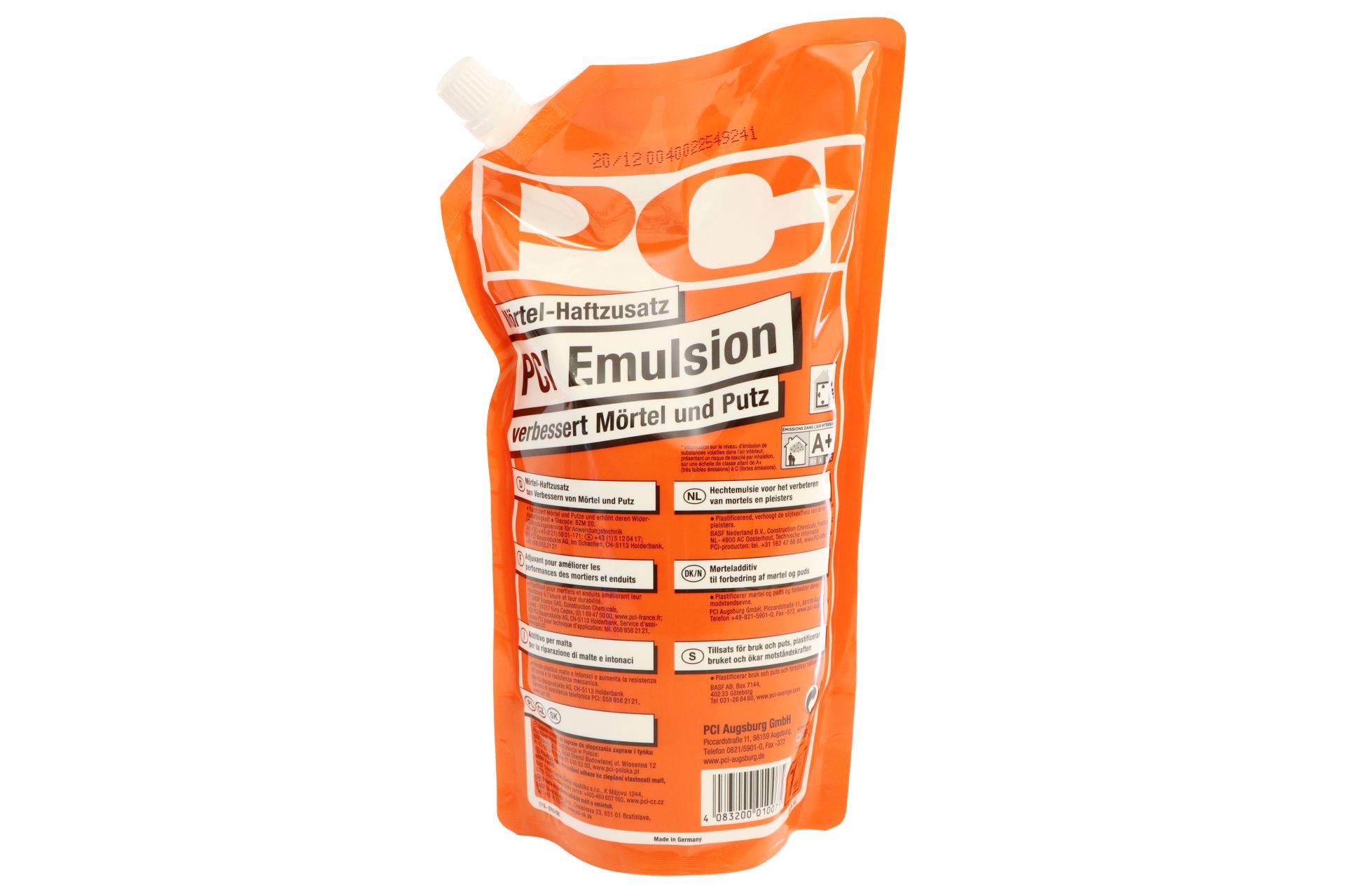 PCI Emulsion, Mörtel-Haftzusatz, verbessert Mörtel und Putz, 1 l