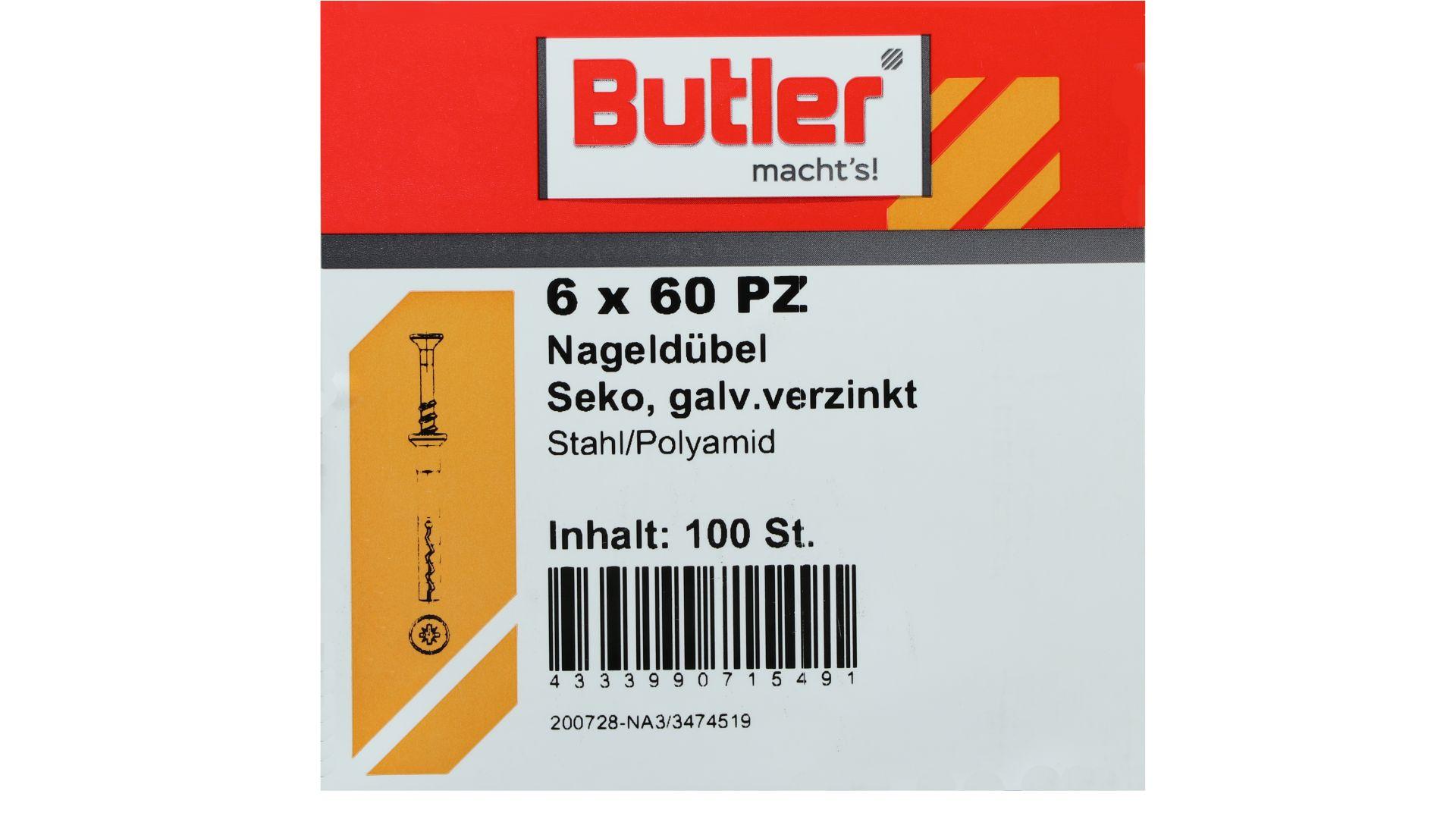 Butler macht's! Nageldübel, Stahl / Polyamid, Senkkopf, galvanisch verzinkt 6 x 60 mm, 100 Stück