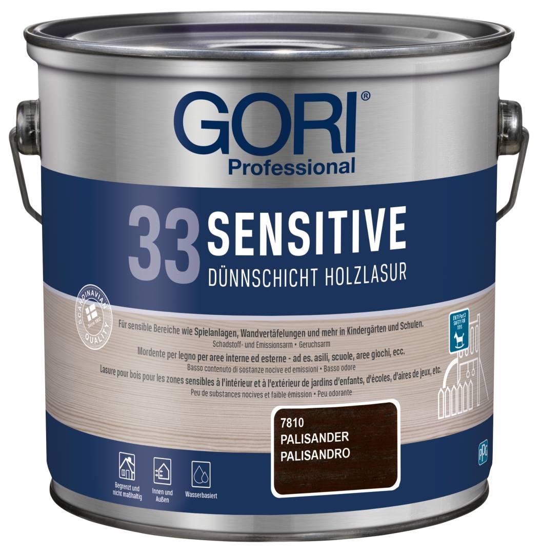 GORI Professional 33 SENSITIVE, Dünnschicht-Holzlasur, palisander, 2,5 l