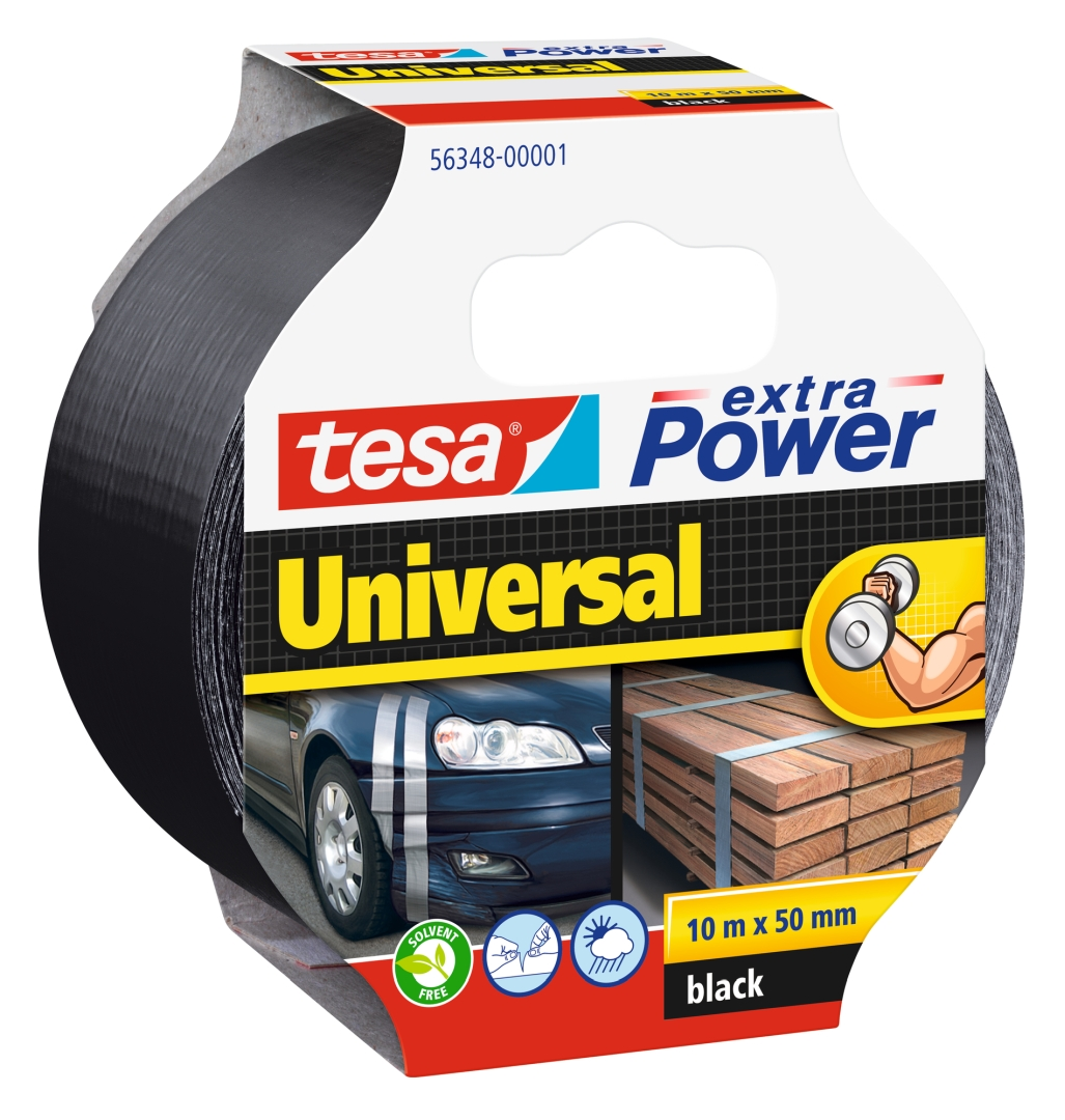 tesa extra Power universal, von Hand einreißbar, hohe Wetterfestigkeit, schwarz, 10 m x 50 mm