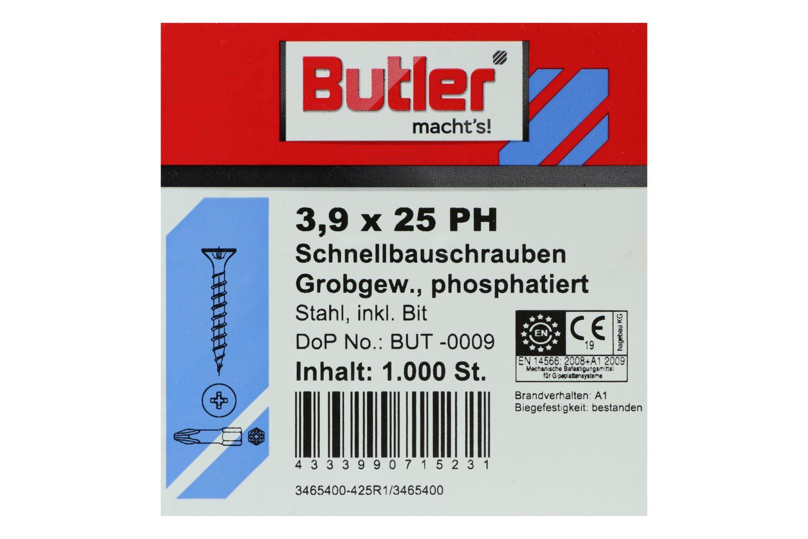 Butler macht's! Schnellbauschrauben inkl. Bit für Holz auf Holz, Grobgewinde, PH2, 3,9 x 25 mm, 1.000 Stück