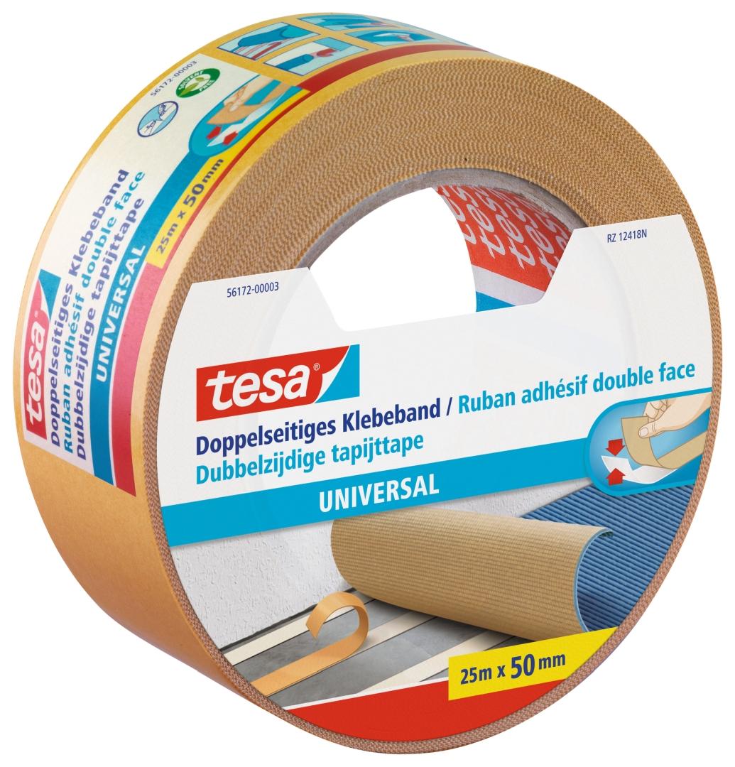 tesa universal, doppelseitiges Klebeband, von Hand einreißbar, 25 m x 50 mm