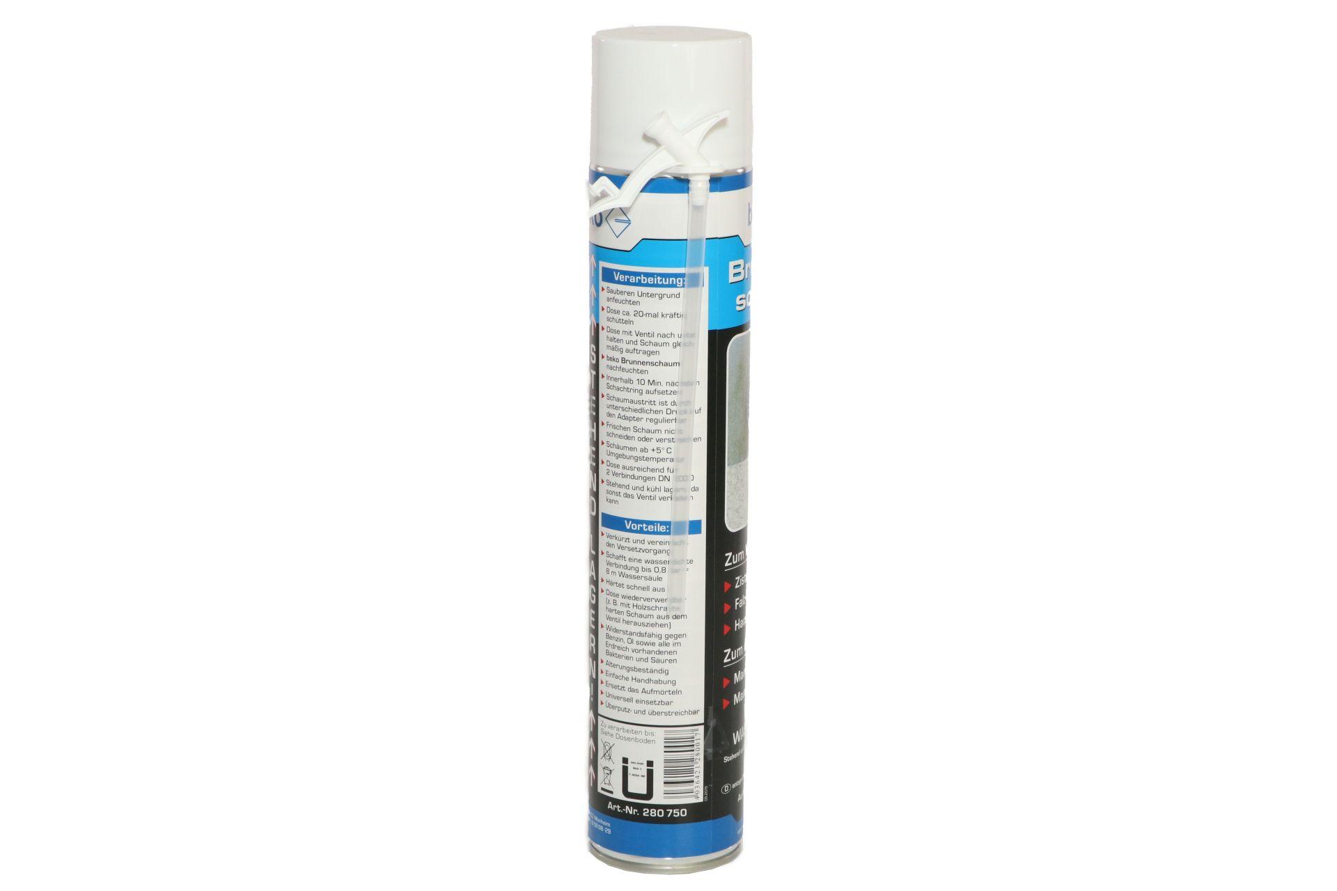 beko 1-Komponenten Polyurethan-Brunnenschaum, B2-Qualität, Ausbeute ca. 42 l, 750 ml Dose