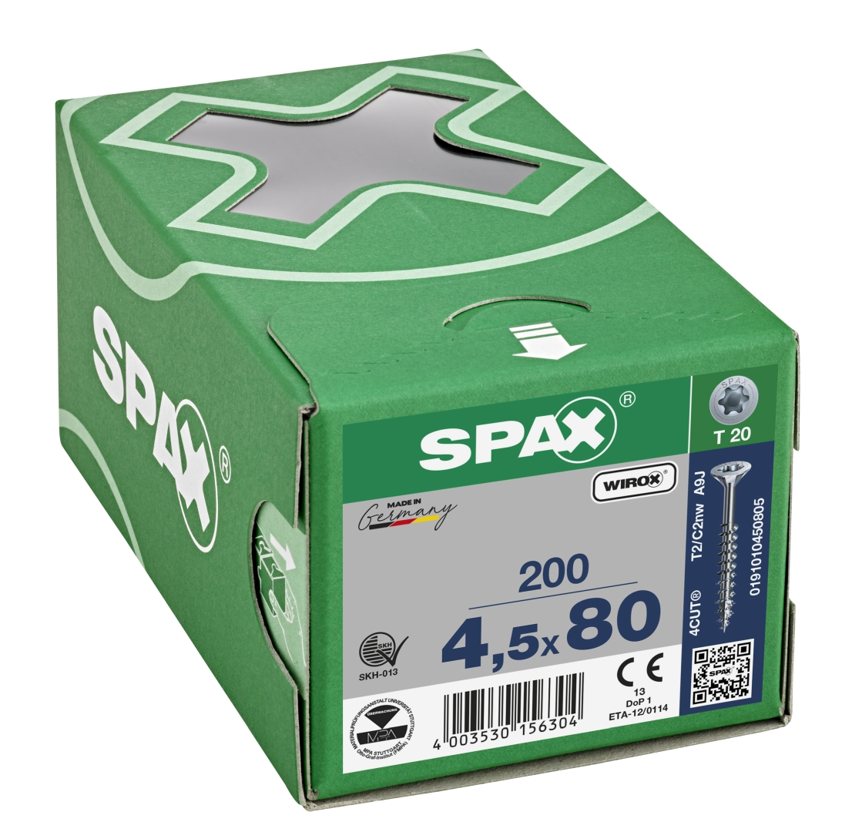SPAX Universalschraube, Teilgewinde, Senkkopf, T-STAR plus T20, 4CUT, WIROX, 4,5 x 80 mm, 200 Stück