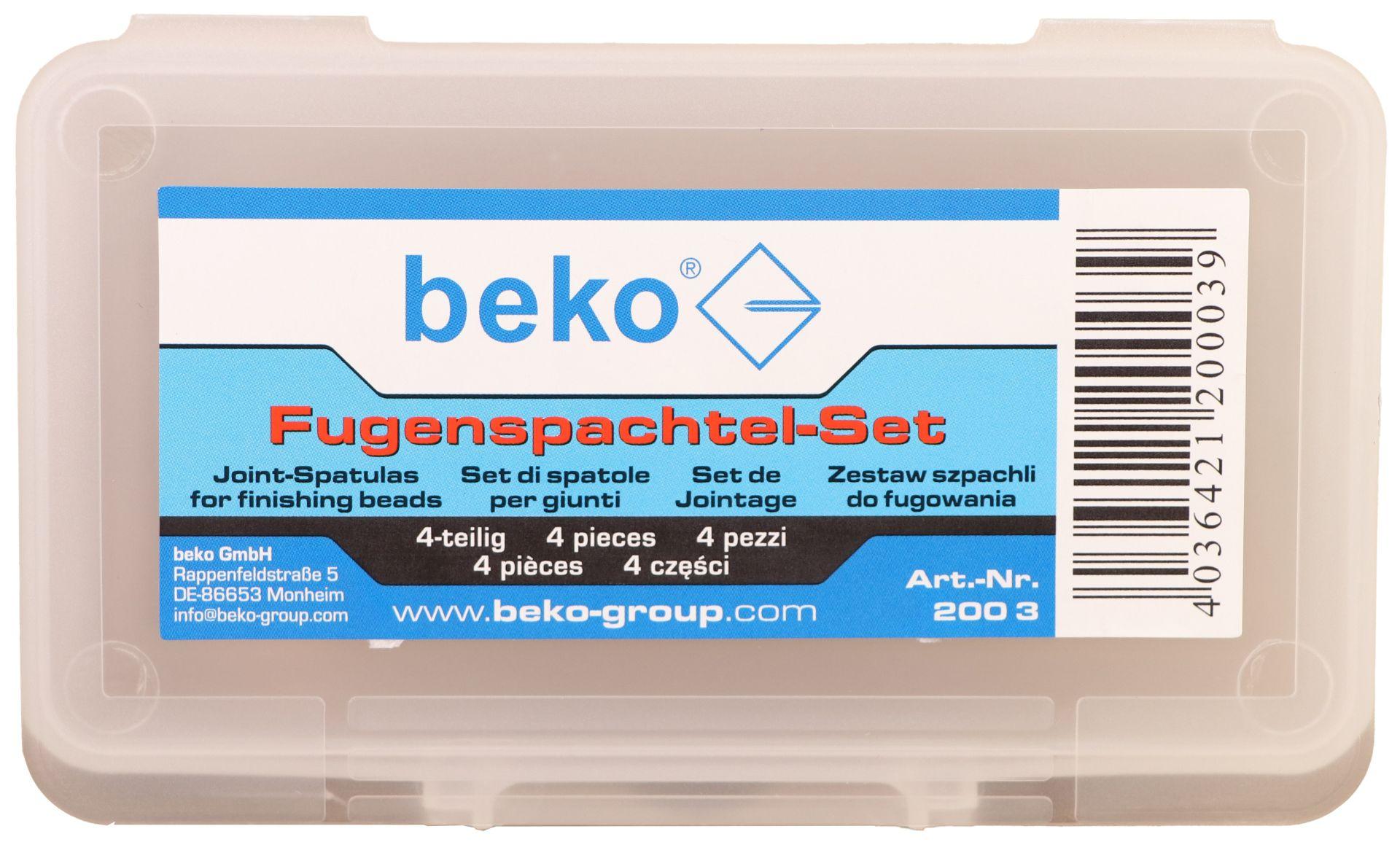 beko Fugenspachtel-Set, Fugenglätter für Dichtstoffe, 4 Fugenspachtel-Gummis im Set
