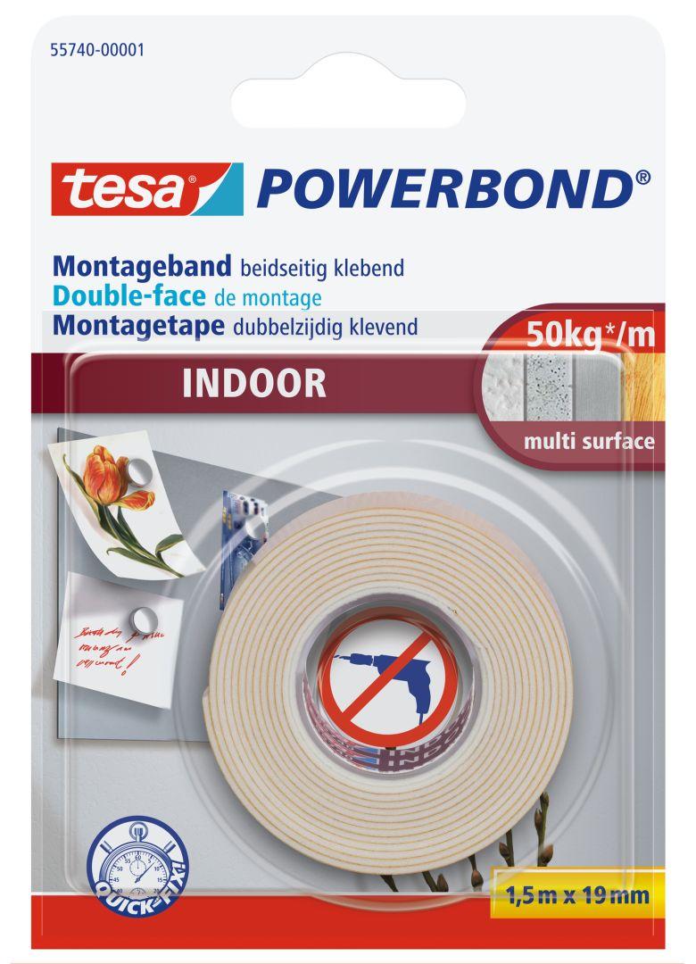 tesa POWERBAND INDOOR, Montageband beidseitig klebend, 1,5 m x 19 mm