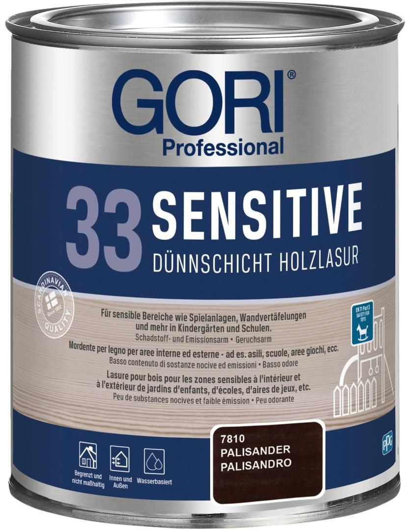 GORI Professional 33 SENSITIVE, Dünnschicht-Holzlasur, palisander, 0,75 l