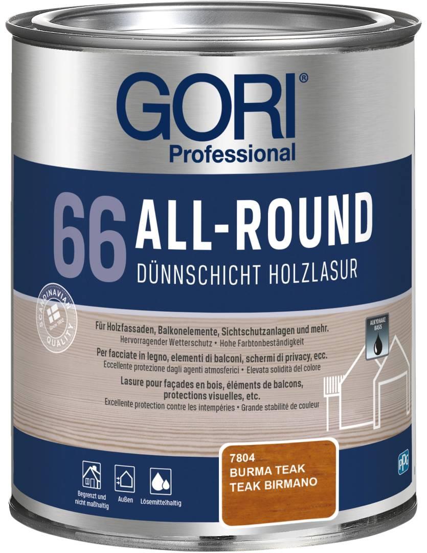 GORI Professional 66 ALL-ROUND, Dünnschicht-Holzlasur, burma teak, 0,75 l