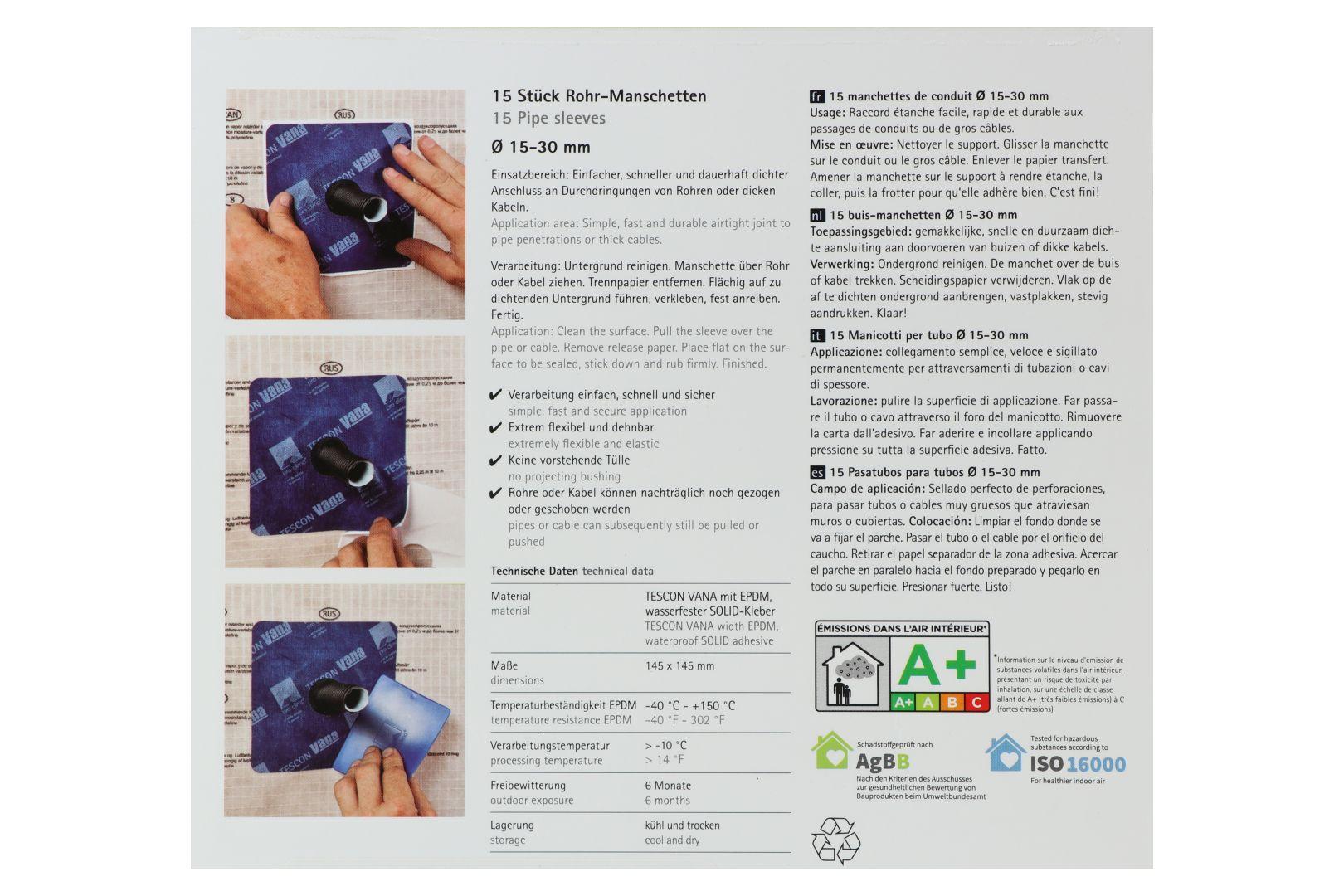 pro clima ROFLEX 20 Rohr-Manschette, 145 x 145 mm, für Rohre mit Ø 15 - 30 mm, 1 Manschette