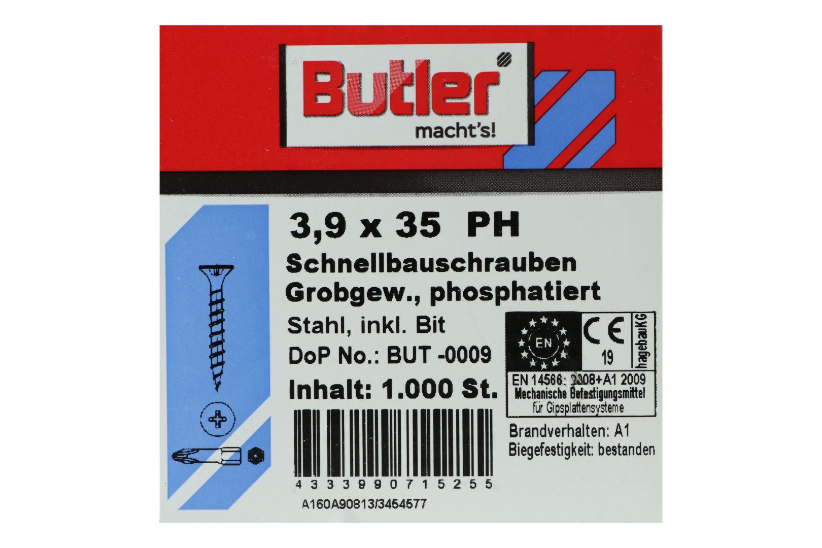 Butler macht's! Schnellbauschrauben inkl. Bit für Holz auf Holz, Grobgewinde, PH2, 3,9 x 35 mm, 1.000 Stück