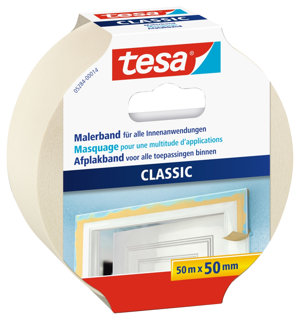 tesa CLASSIC Malerband, Kreppband, Klebeband, beige, lösungsmittelfrei, 50 m x 50 mm