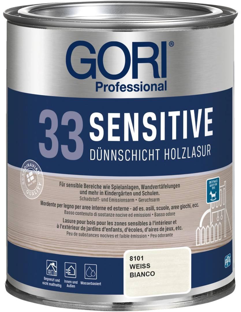 GORI Professional 33 SENSITIVE, Dünnschicht-Holzlasur, weiß, 0,75 l