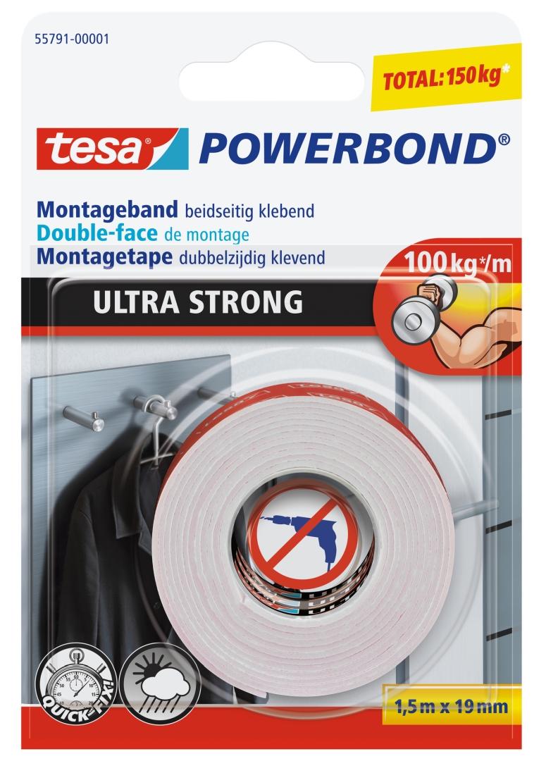 tesa doppelseitiges Montageband, ULTRA STRONG, extra starkes Klebeband, 1,5 m x 19 mm