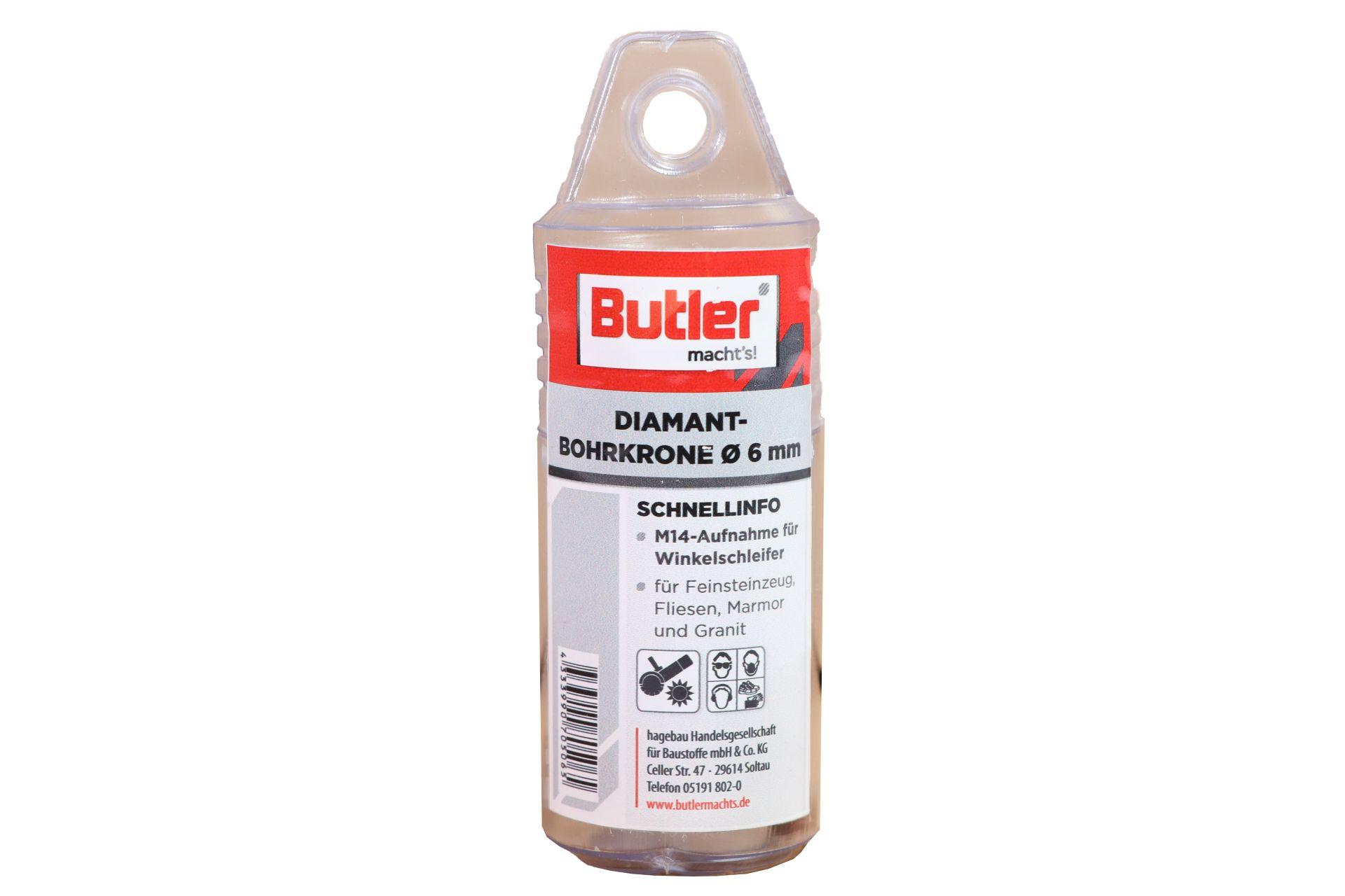 Butler macht's! Diamant-Bohrkrone, Ø 6 mm, Aufnahme M14, Bohrtiefe 35 mm