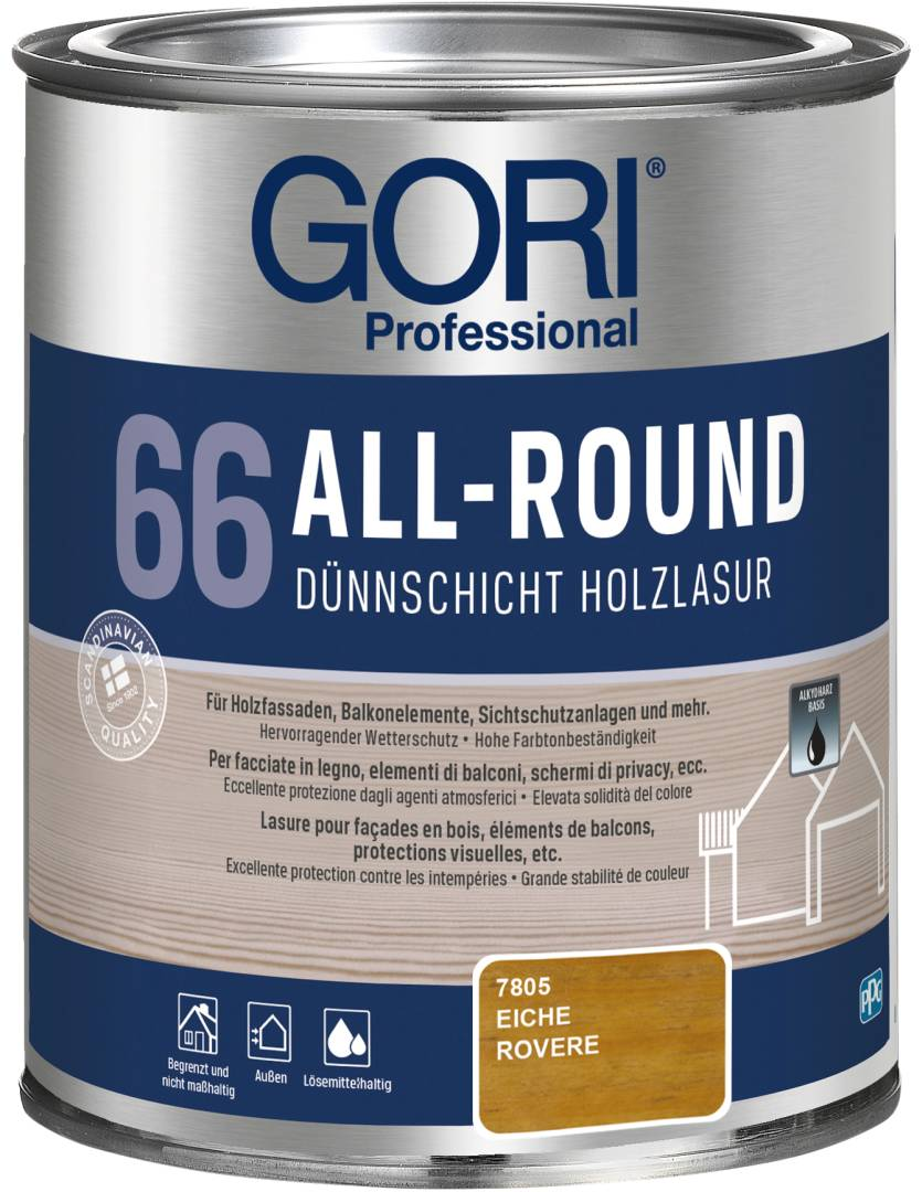 GORI Professional 66 ALL-ROUND, Dünnschicht-Holzlasur, eiche, 0,75 l