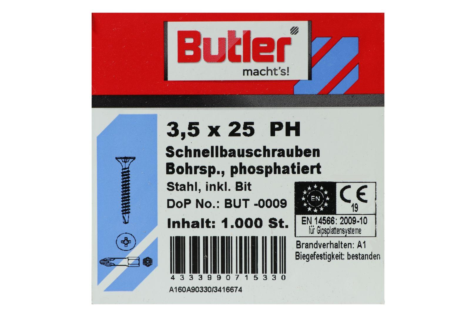 Butler macht's! Schnellbauschrauben inkl. Bit für Gipsplatten auf Metall 0,6 bis 2 mm, Bohrspitze, Feingewinde, PH2, 3,5 x 25 mm, 1.000 Stück