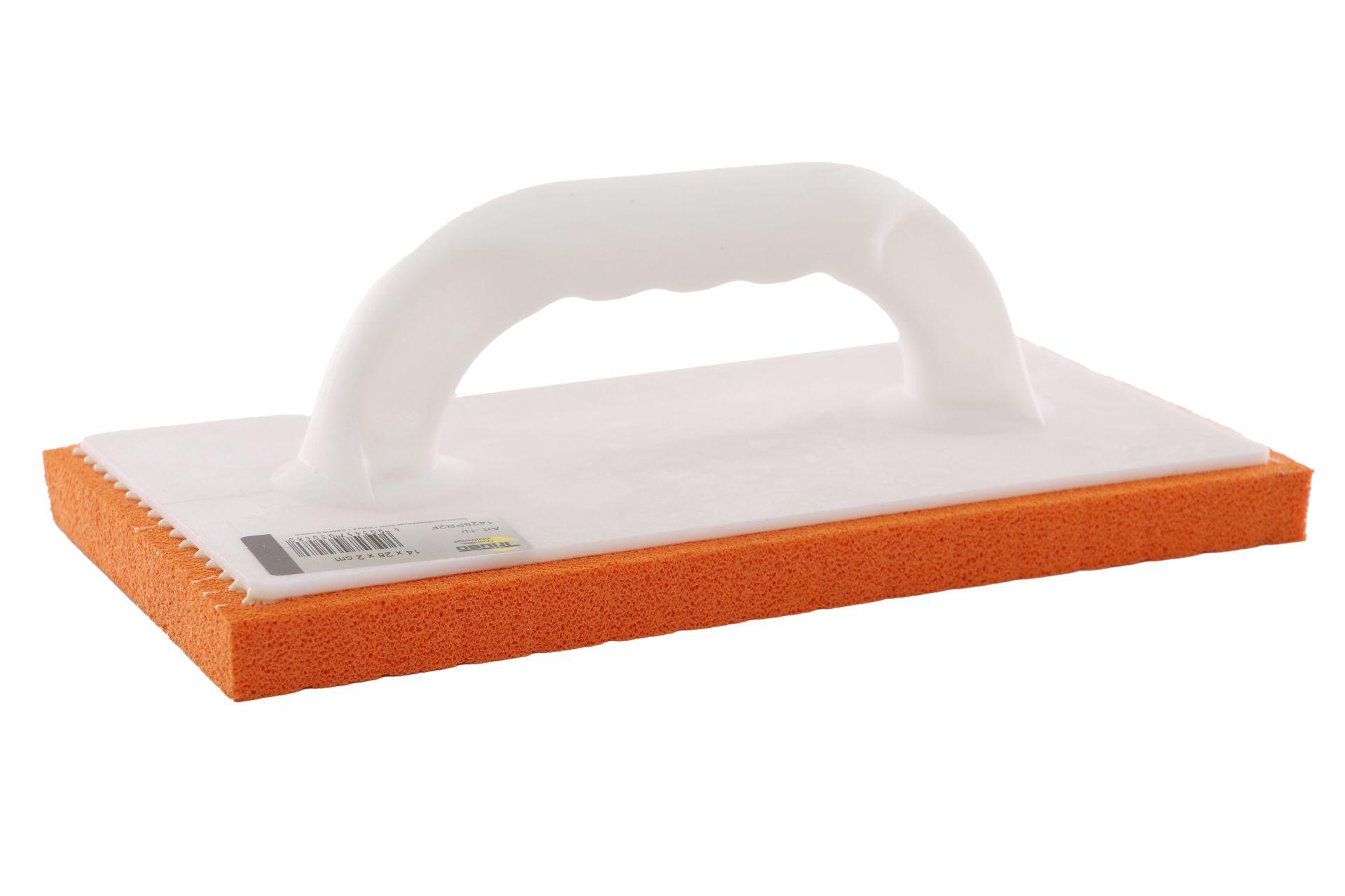 TRIUSO Kunststoff-Reibebrett mit 20 mm feinporigem rotem Belag, 140 x 280 mm