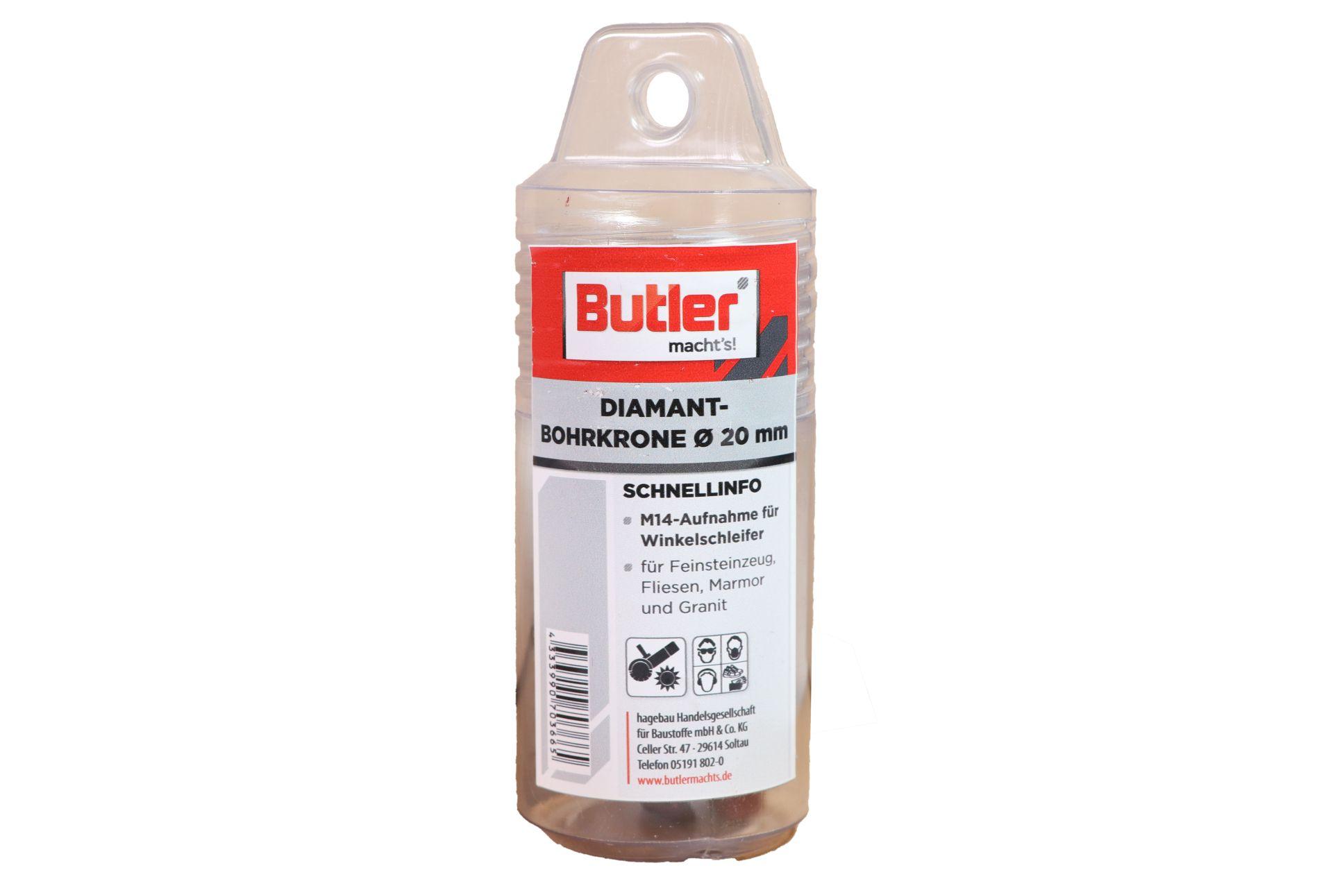 Butler macht's! Diamant-Bohrkrone, Ø 20 mm, Aufnahme M14, Bohrtiefe 45 mm